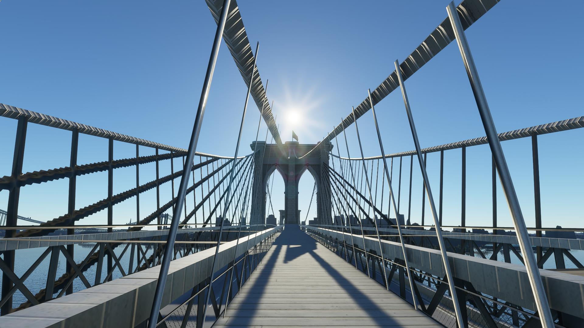 The Brooklyn Bridge in Microsoft Flight Simulator