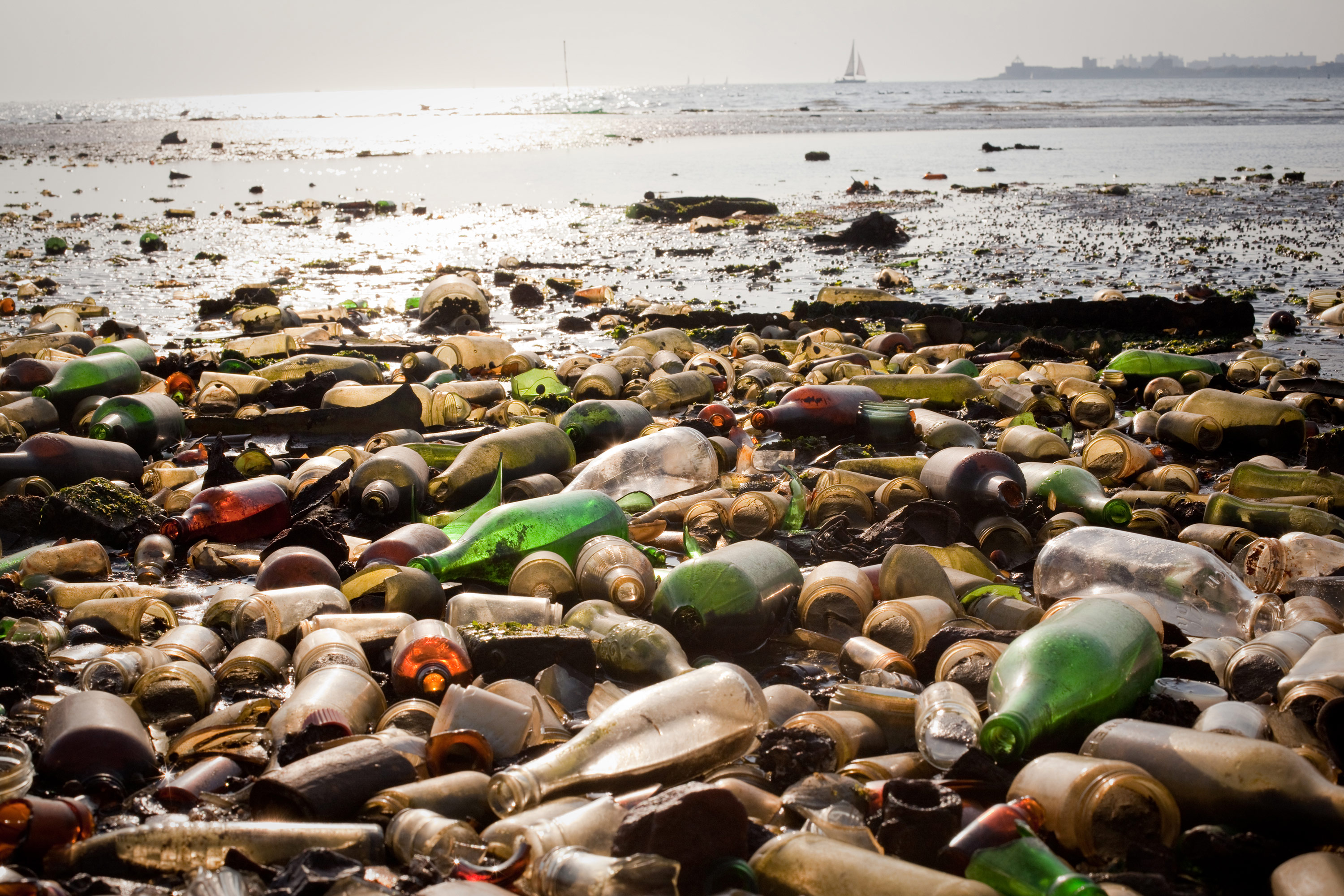 Glass bottles and trash cover the shore of a beach in Dead Horse Bay in southeast Brooklyn.