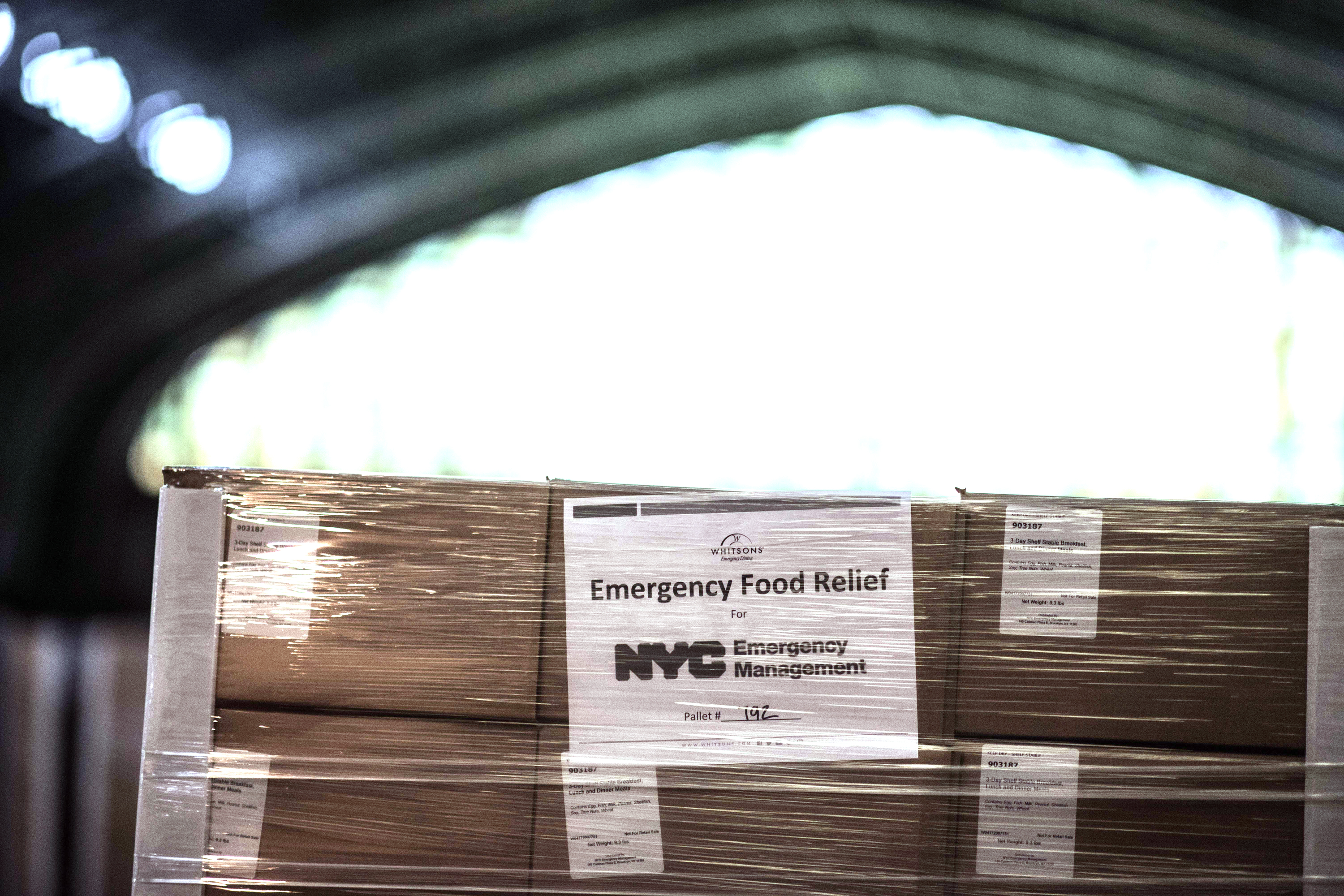 Boxes of food at the Kingsbridge Armory, April 18, 2020.