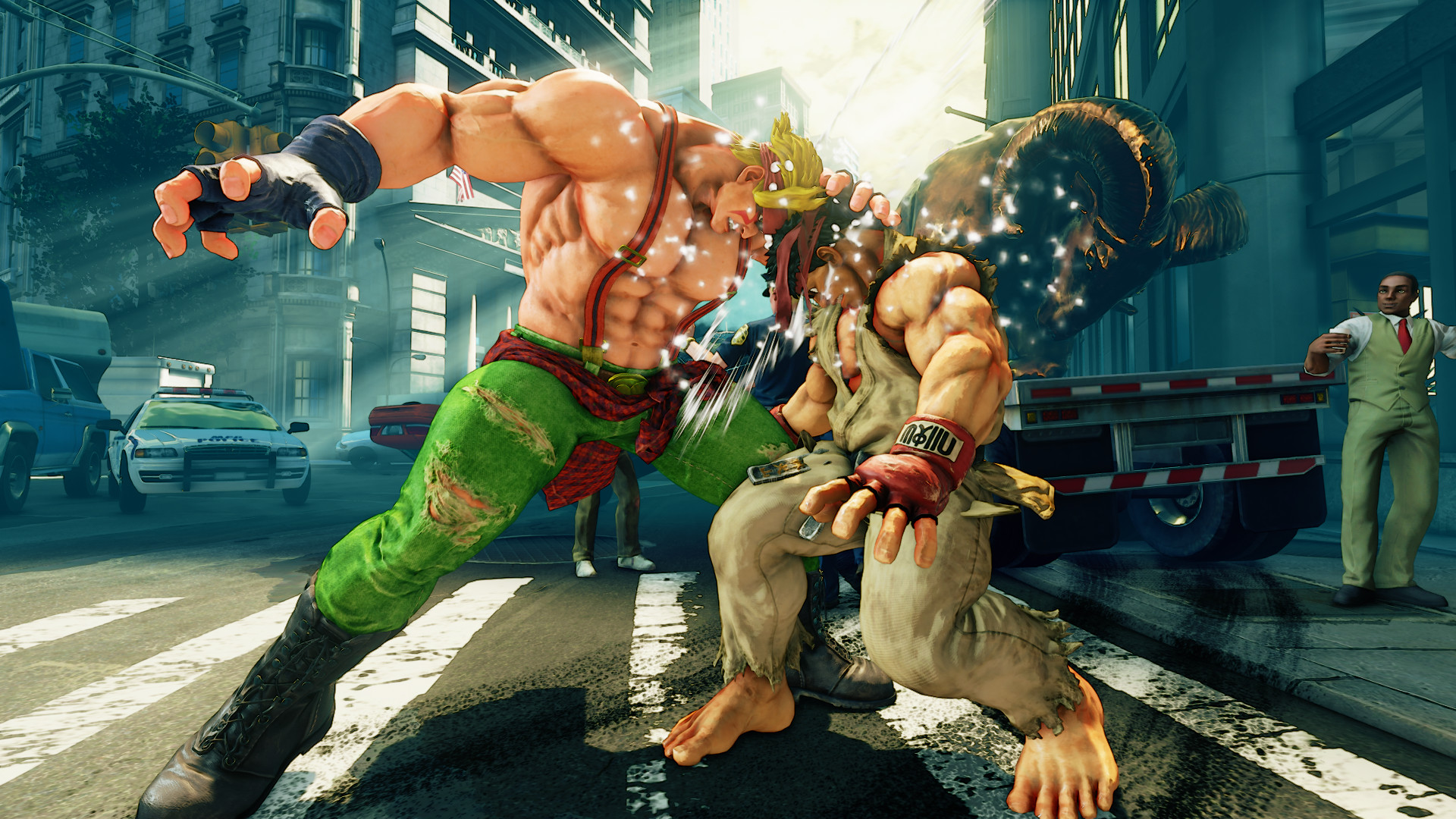 Ryu getting headbutted in Street Fighter 5