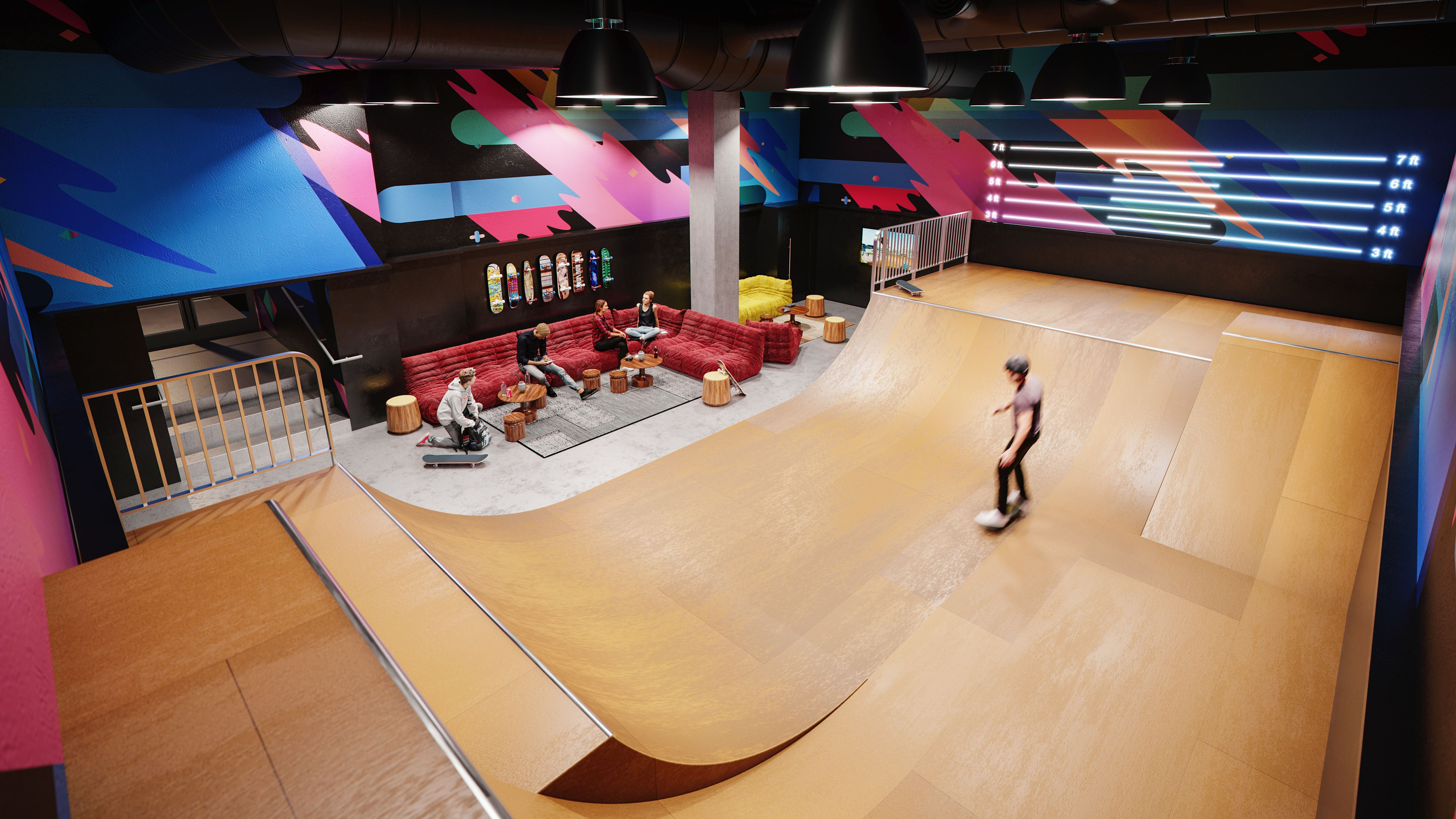 An indoor half pipe is an amenity in New York City's Waterline Square luxury apartment tower.