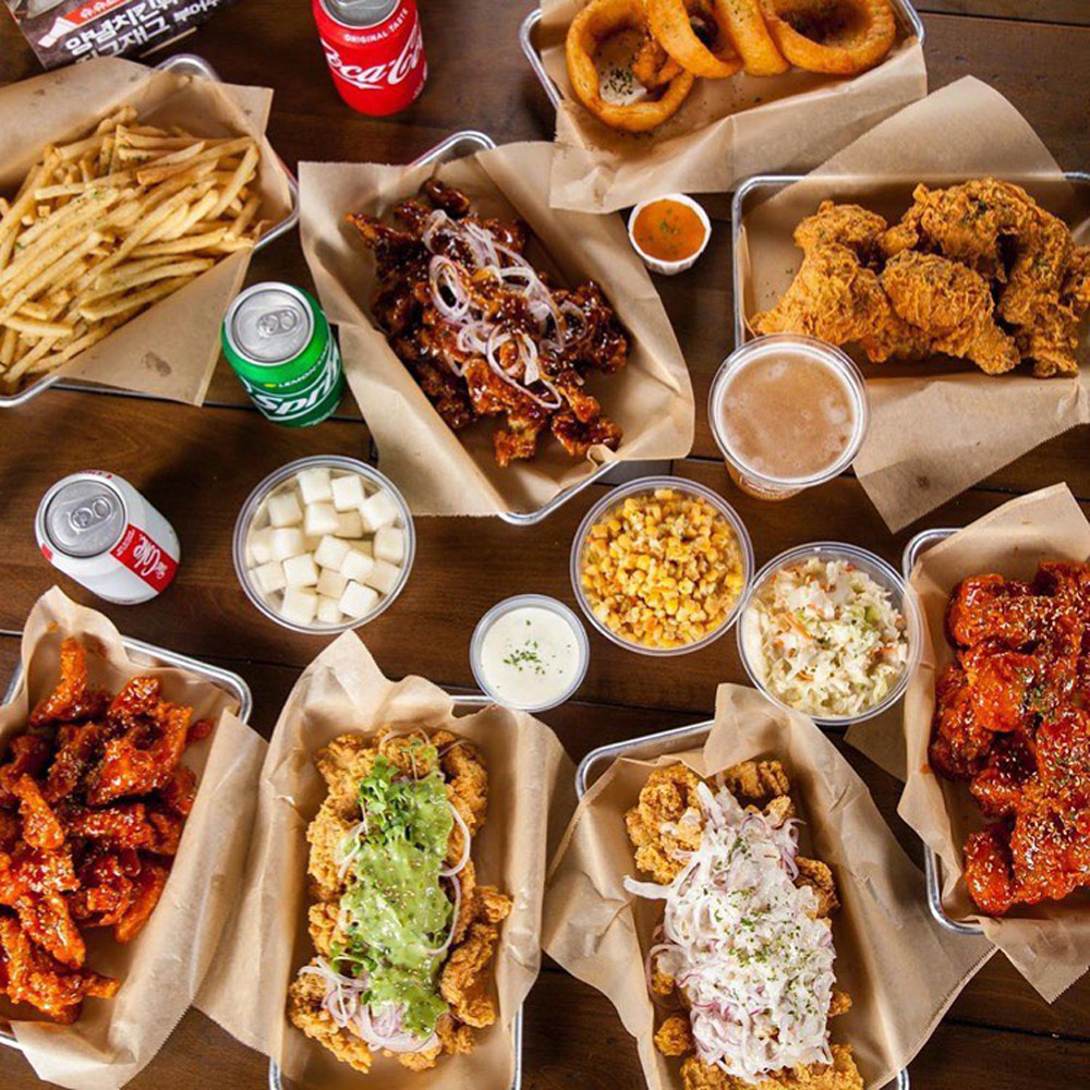 Fried chicken pieces, sides and Korean flavors, on the menu at Dragon Bowl Twozone Chicken in Spring Valley.