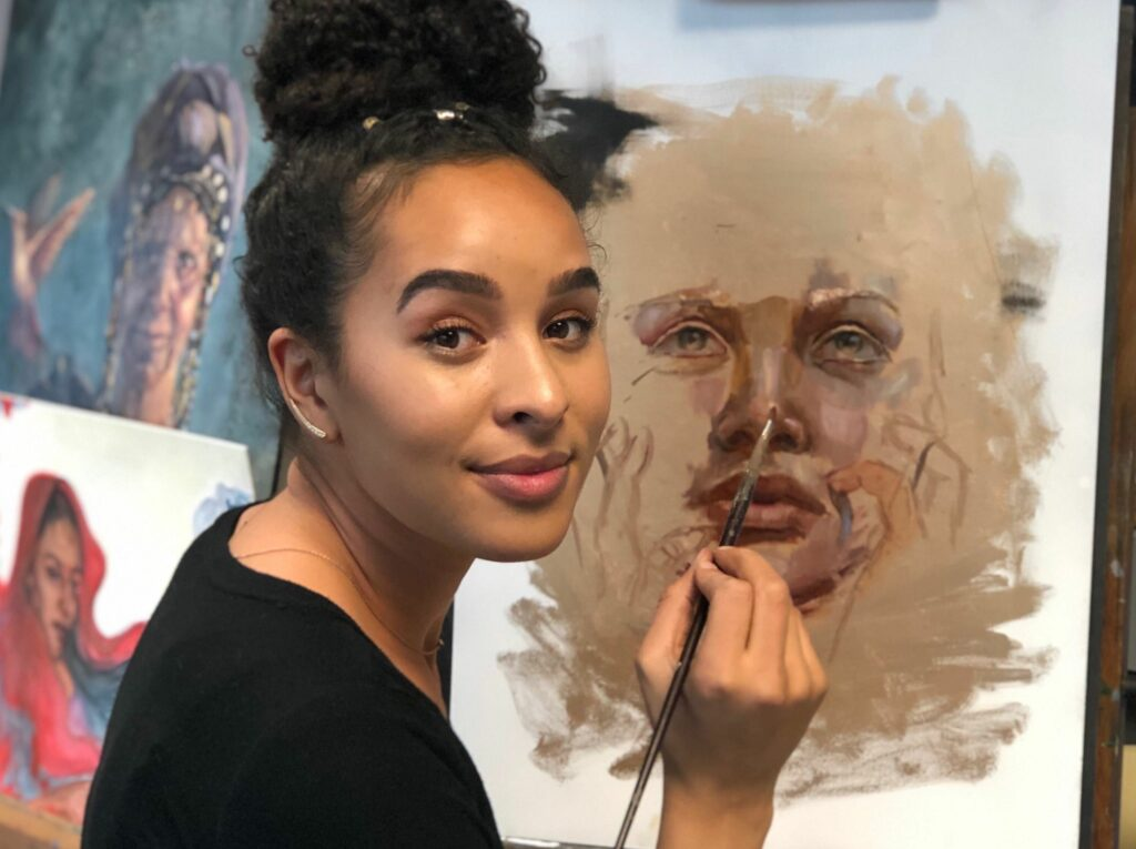 Artist Melissa Tshikamba, a graduate of BYU, emphasizes people of color in her artwork to help empower underrepresented groups of people through her art.