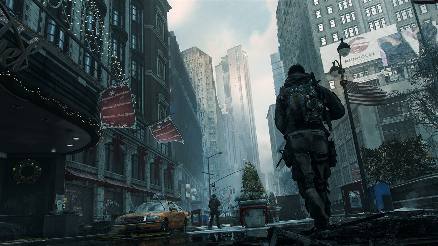 A soldier walks through a deserted city in a screenshot from Tom Clancy's The Division