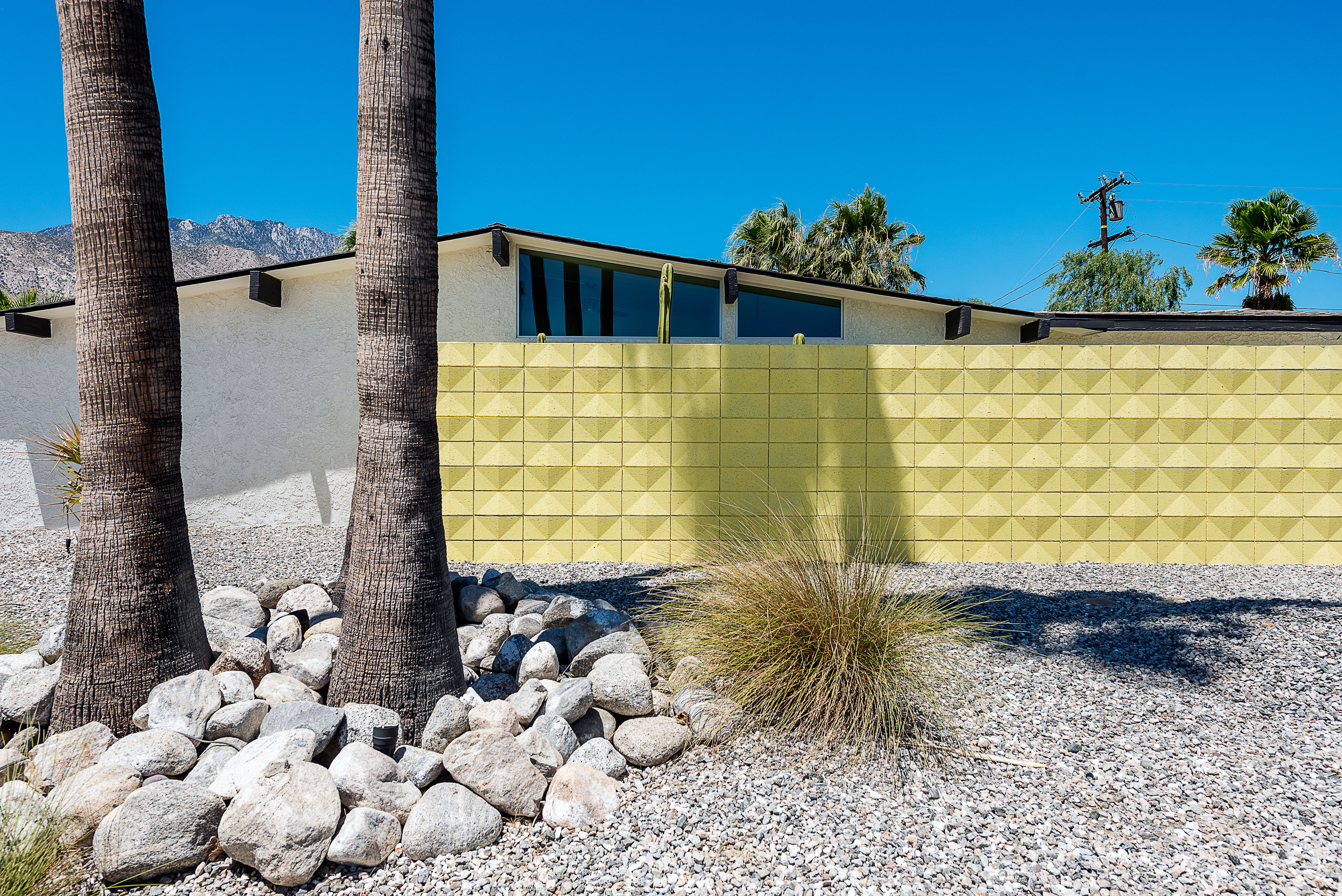 An exterior view of a midcentury modern house with a yellow wall in front. There are also two palm trees and blue skies in the background.