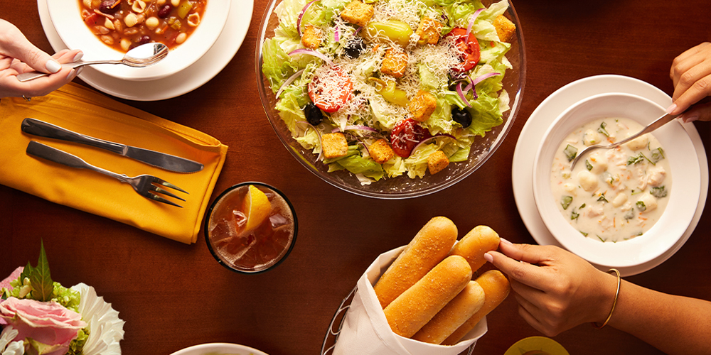 The unlimited, soup, salads and breadsticks on the Olive Garden menu.