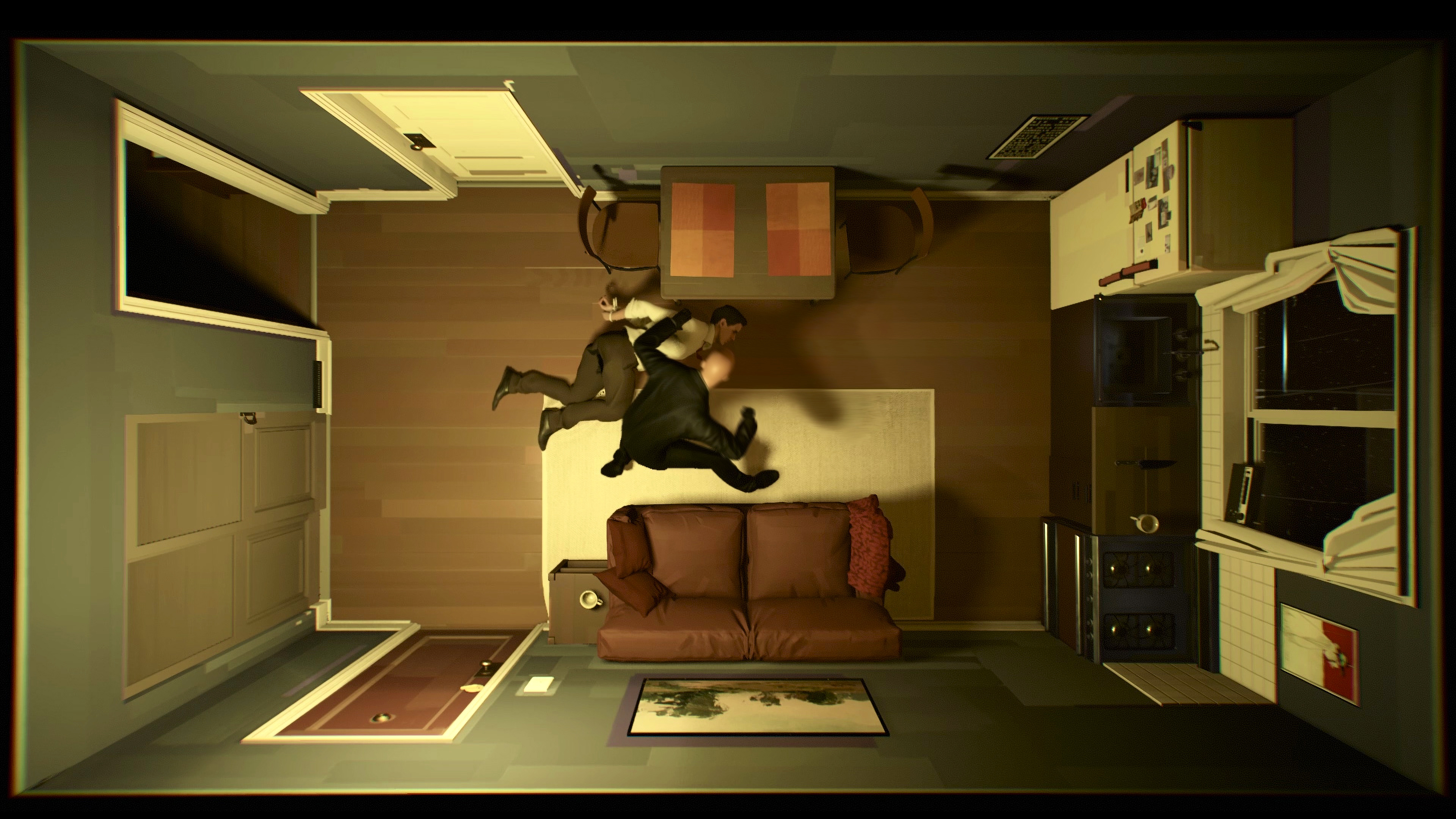 an overhead shot from Twelve Minutes of a man lying handcuffed on the floor of his apartment while a man clad in black beats him up
