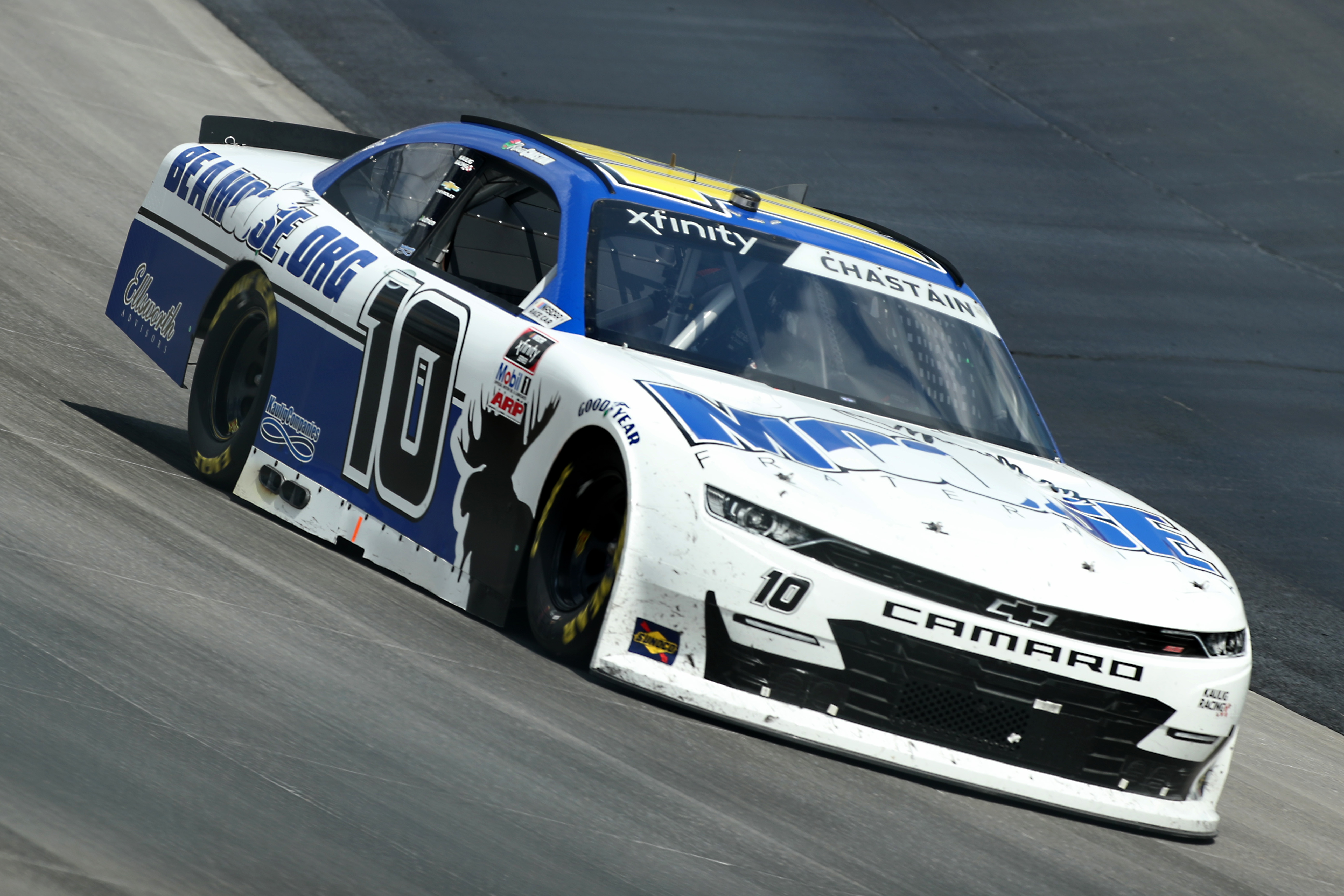 Ross Chastain, driver of the #10 Moose Fraternity Chevrolet, drives during the NASCAR Xfinity Series Drydene 200 at Dover International Speedway on August 23, 2020 in Dover, Delaware.