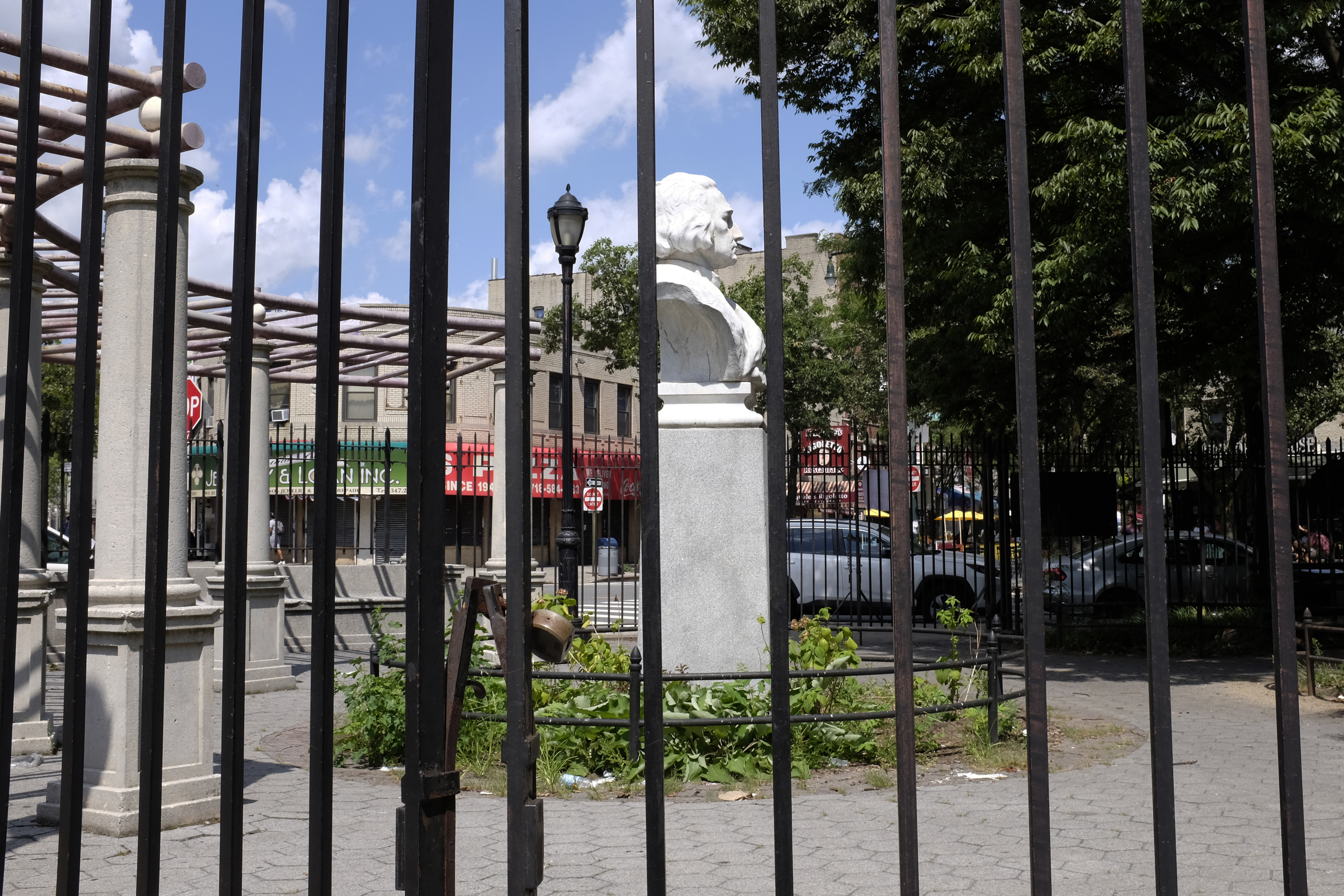 A statue of Christopher Columbus in D'Auria-Murphy Triangle in the Little Italy section of The Bronx, Aug. 24, 2020.