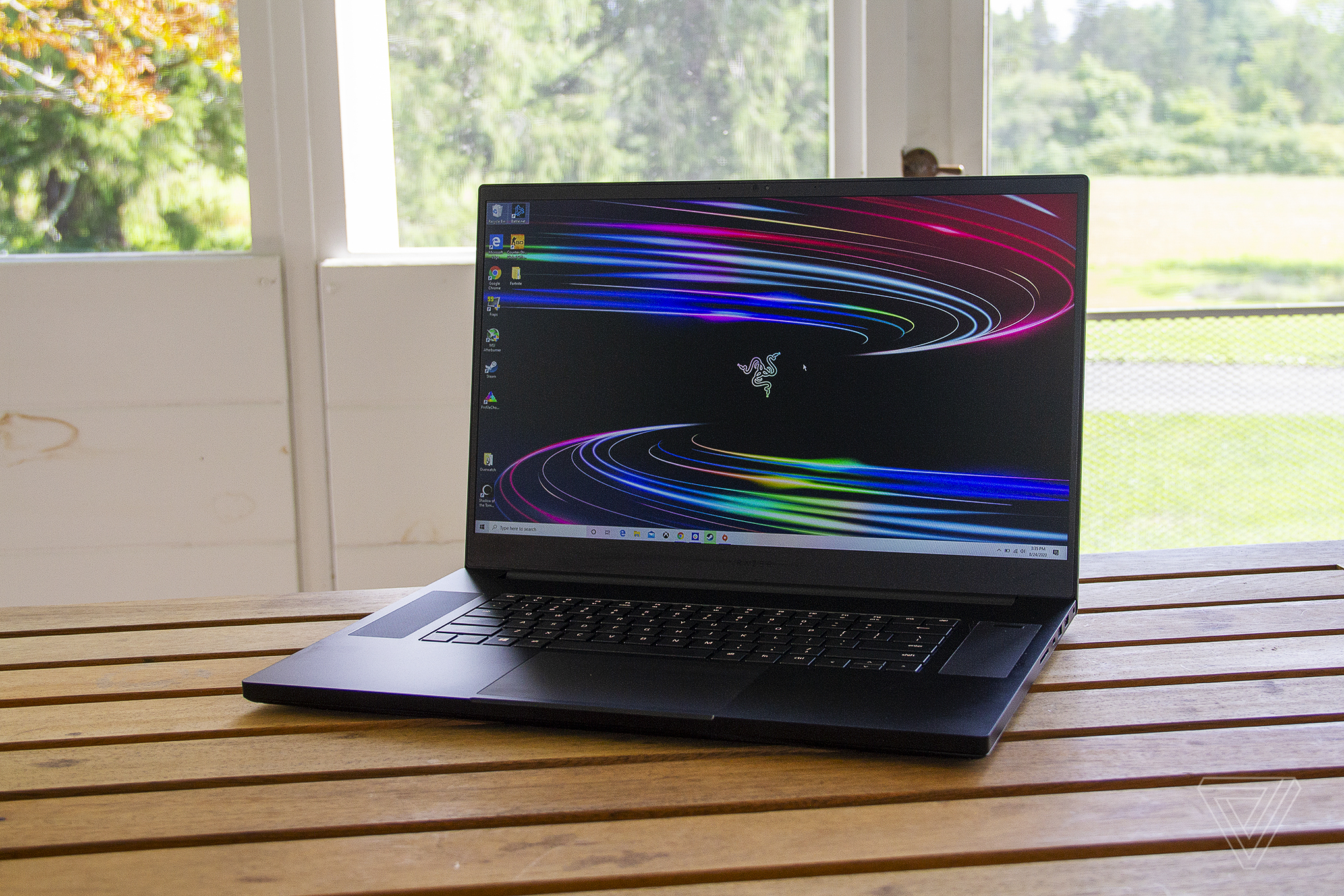 The Razer Blade Pro 17 seen from the front, angled slightly to the left.