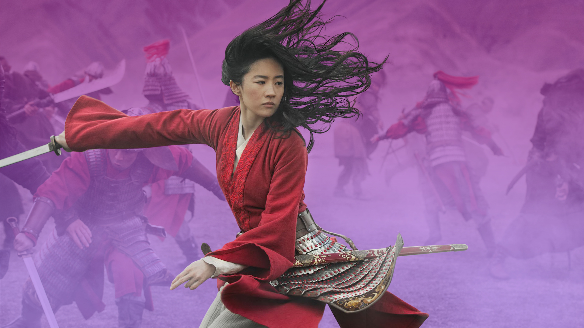 Character Mulan fighting in a battle with a sword on a misty purple background