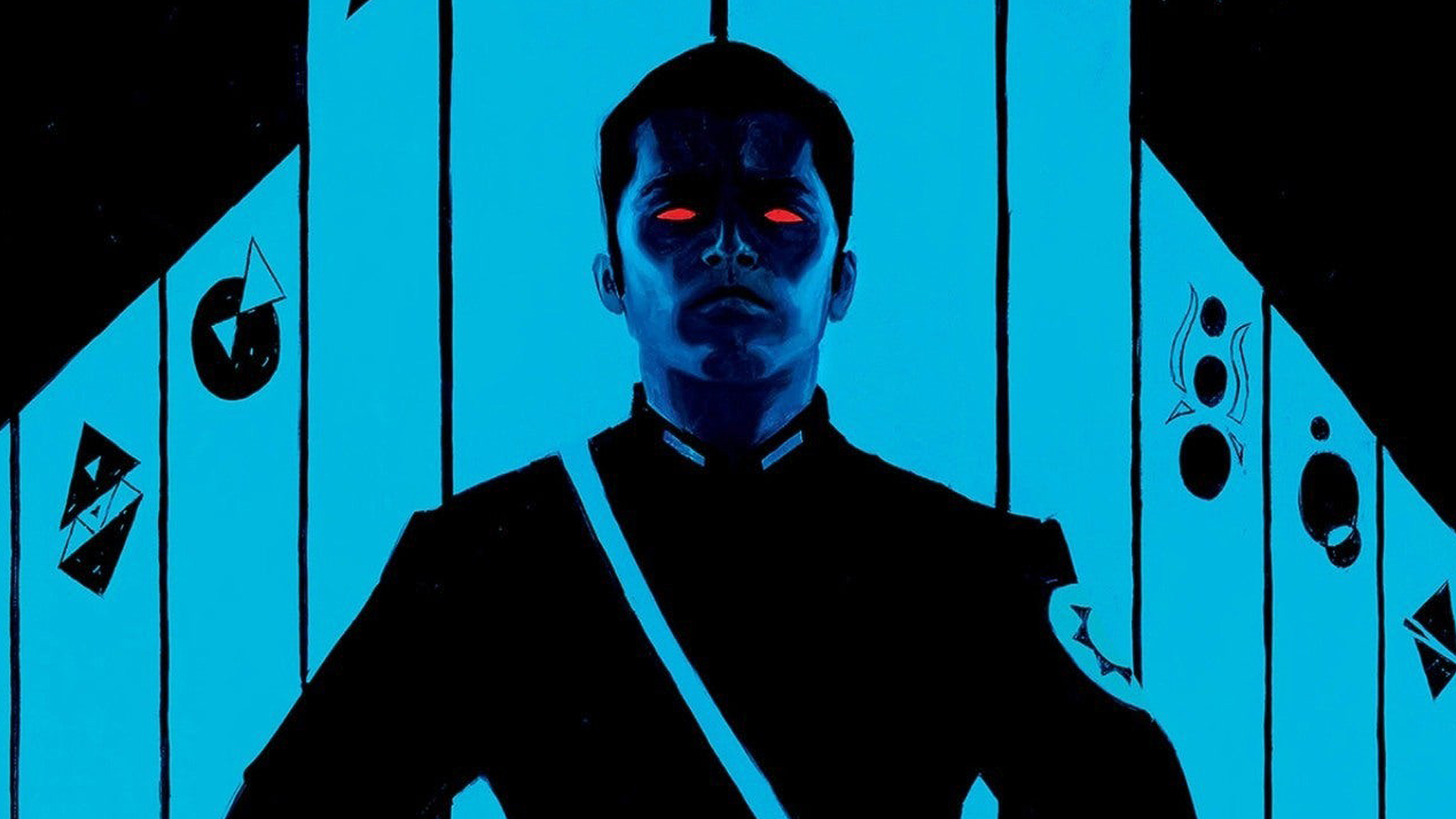 Comic book character with red glowing eyes on a black and blue background