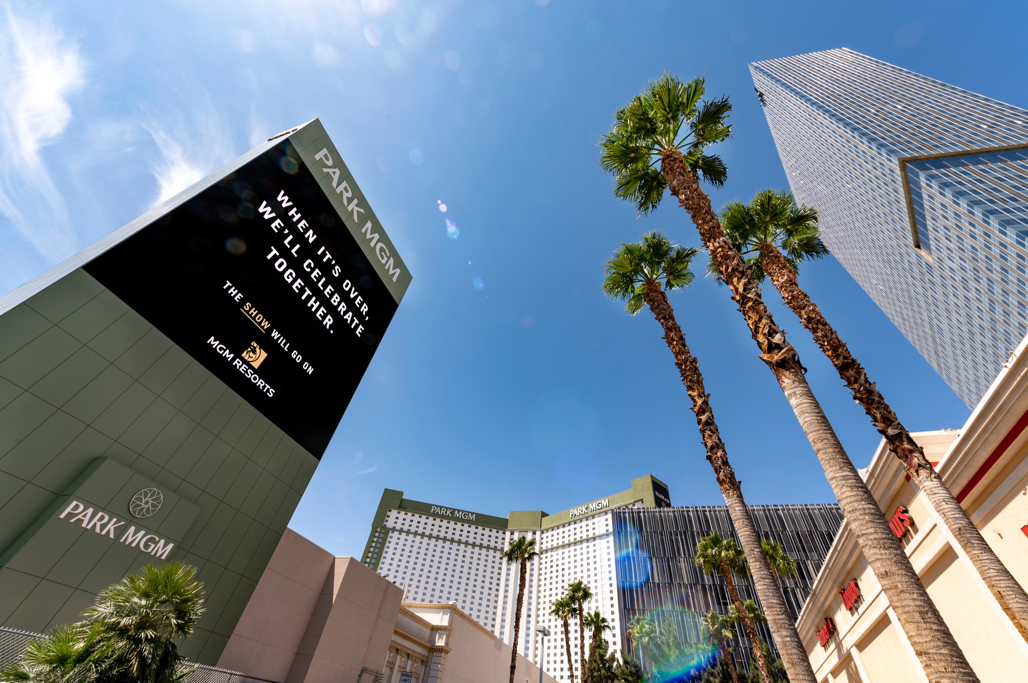 The marquee at a resort on the Las Vegas Strip