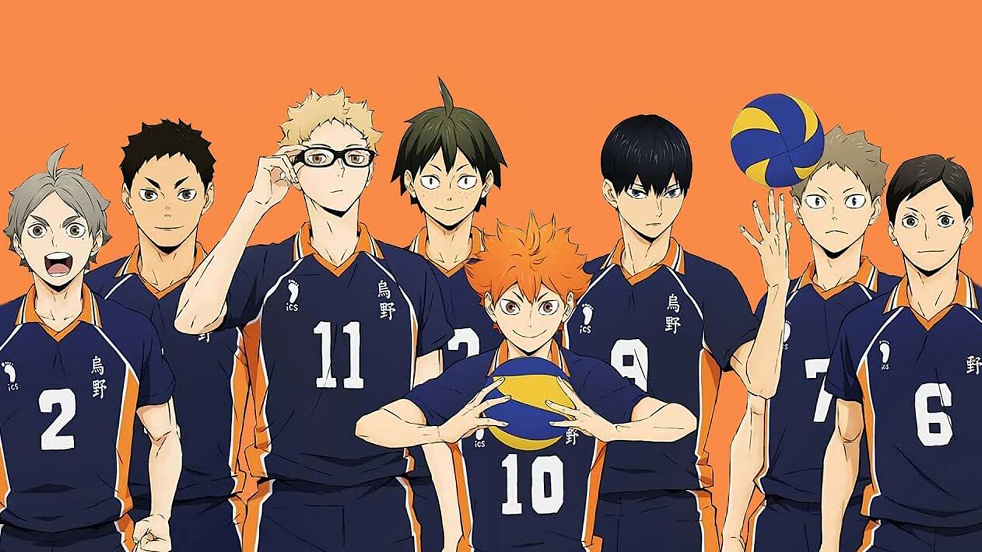 Anime football team with an orange background