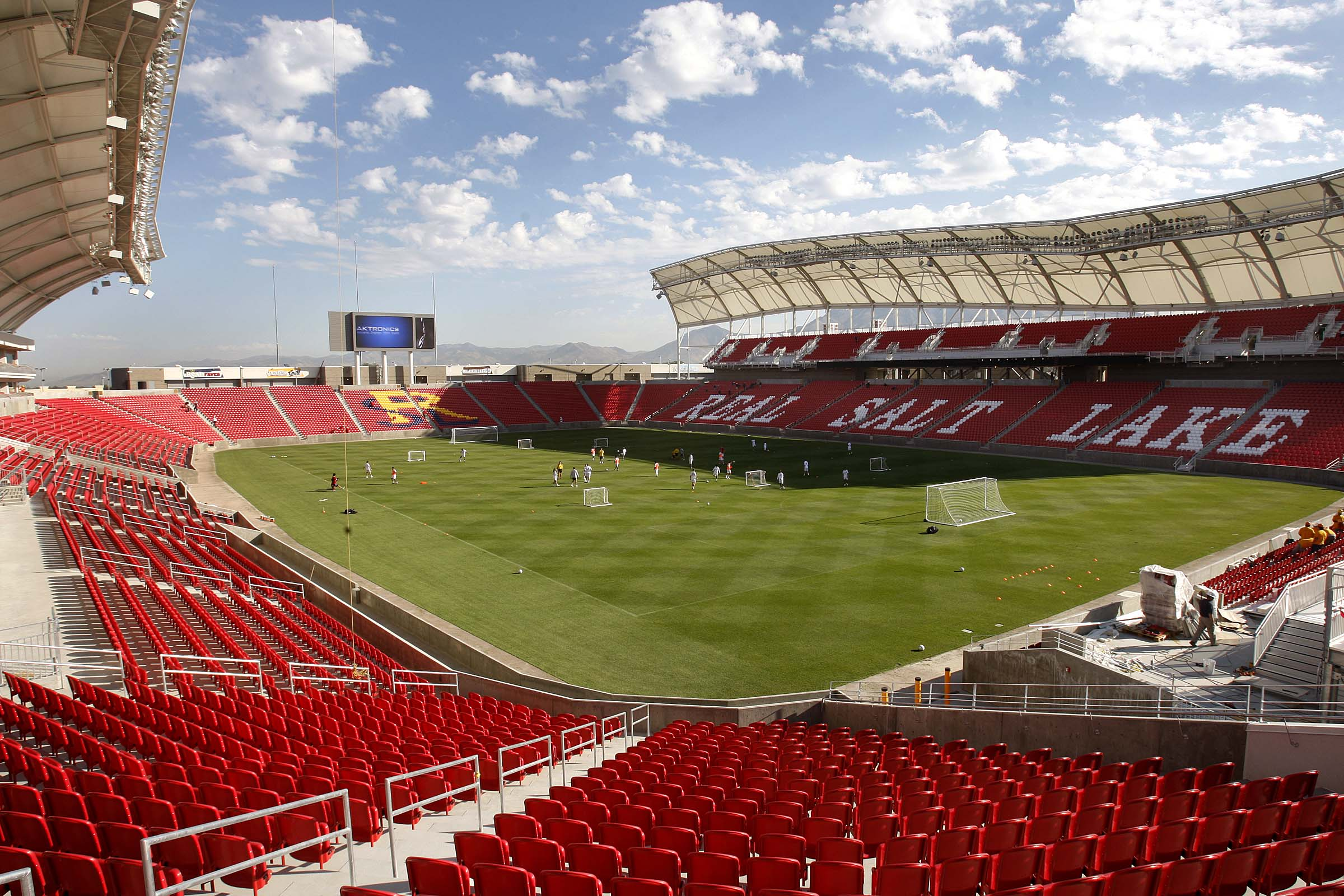 The Real Salt Lake soccer team practices at its new stadium, Rio Tinto Stadium in Sandy. Oct. 1, 2008.