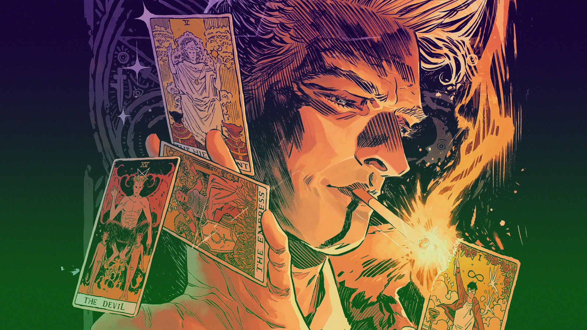 Graphic novel featuring a montage of character lit by the light of his cigarette and hands holding various Tarot cards