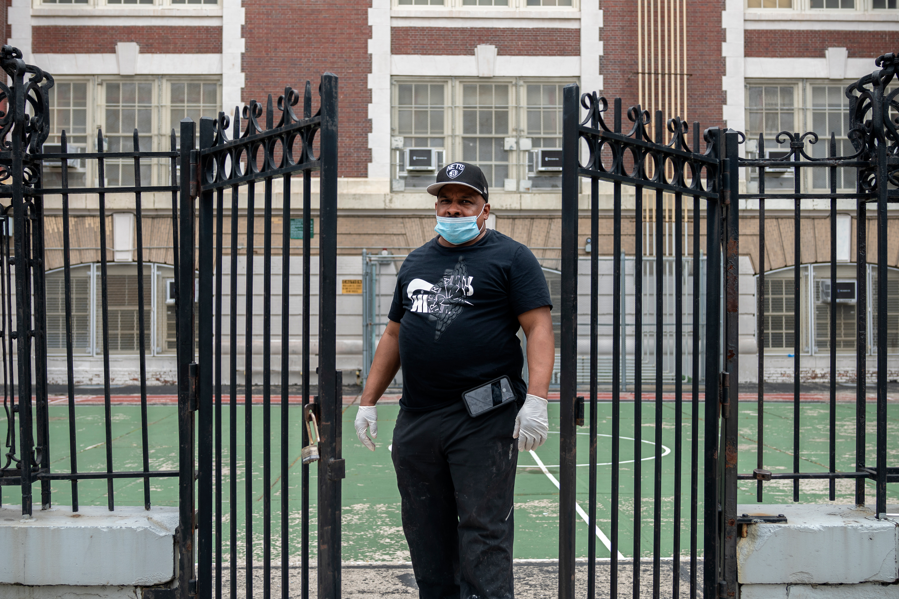 """""""Everyday I come to work I make a life or death gamble,"""" said Warren Allen, a cleaner at P.S. 149 in East New York, June, 5, 2020. """"But I just follow the orders I'm given, if the school says I have to be here every day from then that's what I'm going to do to make sure it's ready for the kids when they come back to school."""""""