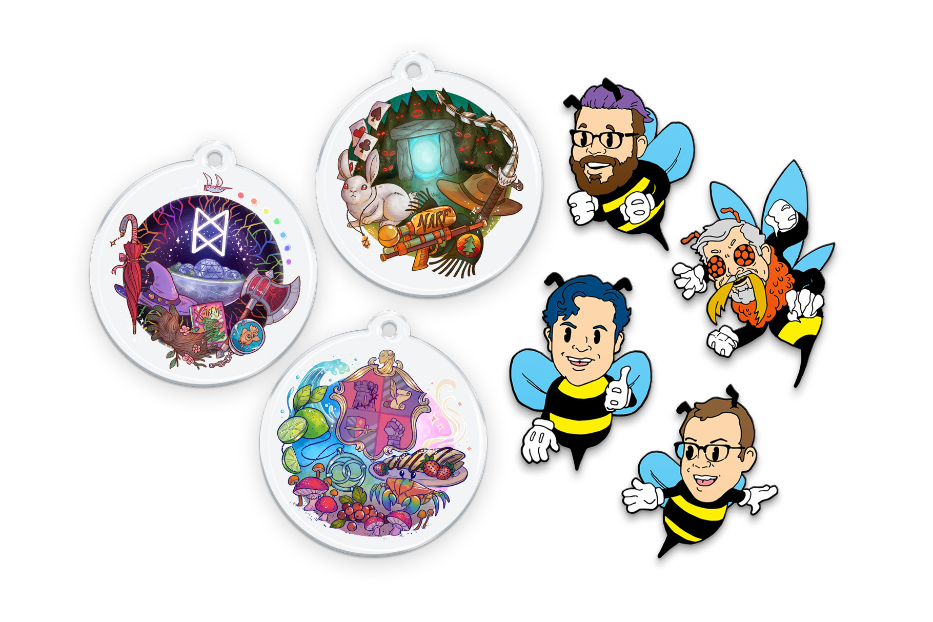 Right: Pins of the McElroys as bees. The brothers have a cartoonish appearance. Clint has mandibles, compound eyes. Left: 3 keychains with illustrations on them. One has a moonbase with an umbrella, hat, wood arm, bible, axe, and a fish. The 2nd is an archway with a rabbit, necklace, a narf gun, scarf, hat, and sword. The 3rd is an emblem surrounded by limes, a pendant, berries, mushrooms, a crab, and a crepe