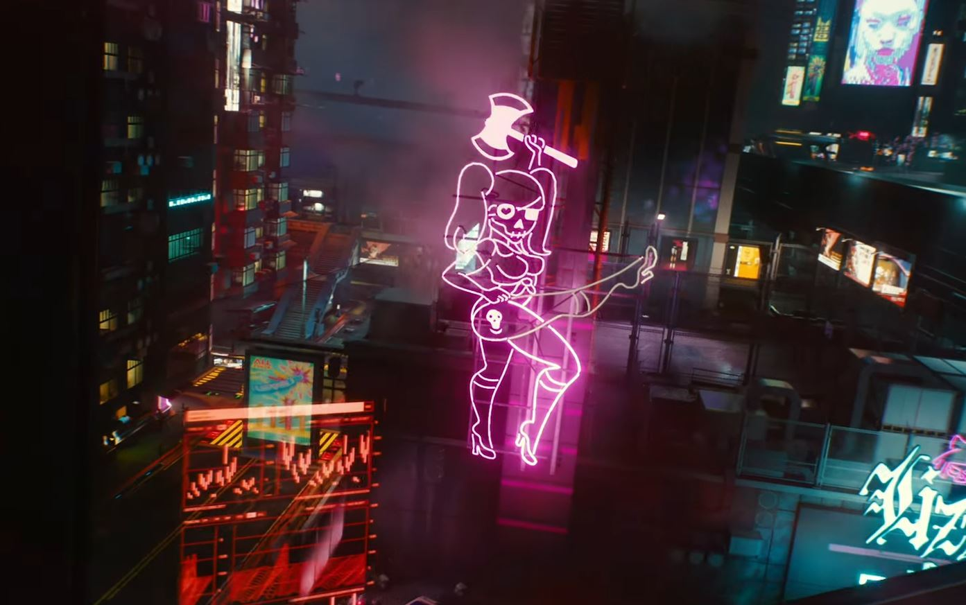 A giant neon sign lights up Night City in Cyberpunk 2077, from the Nvidia press conference in Sept. 2020.