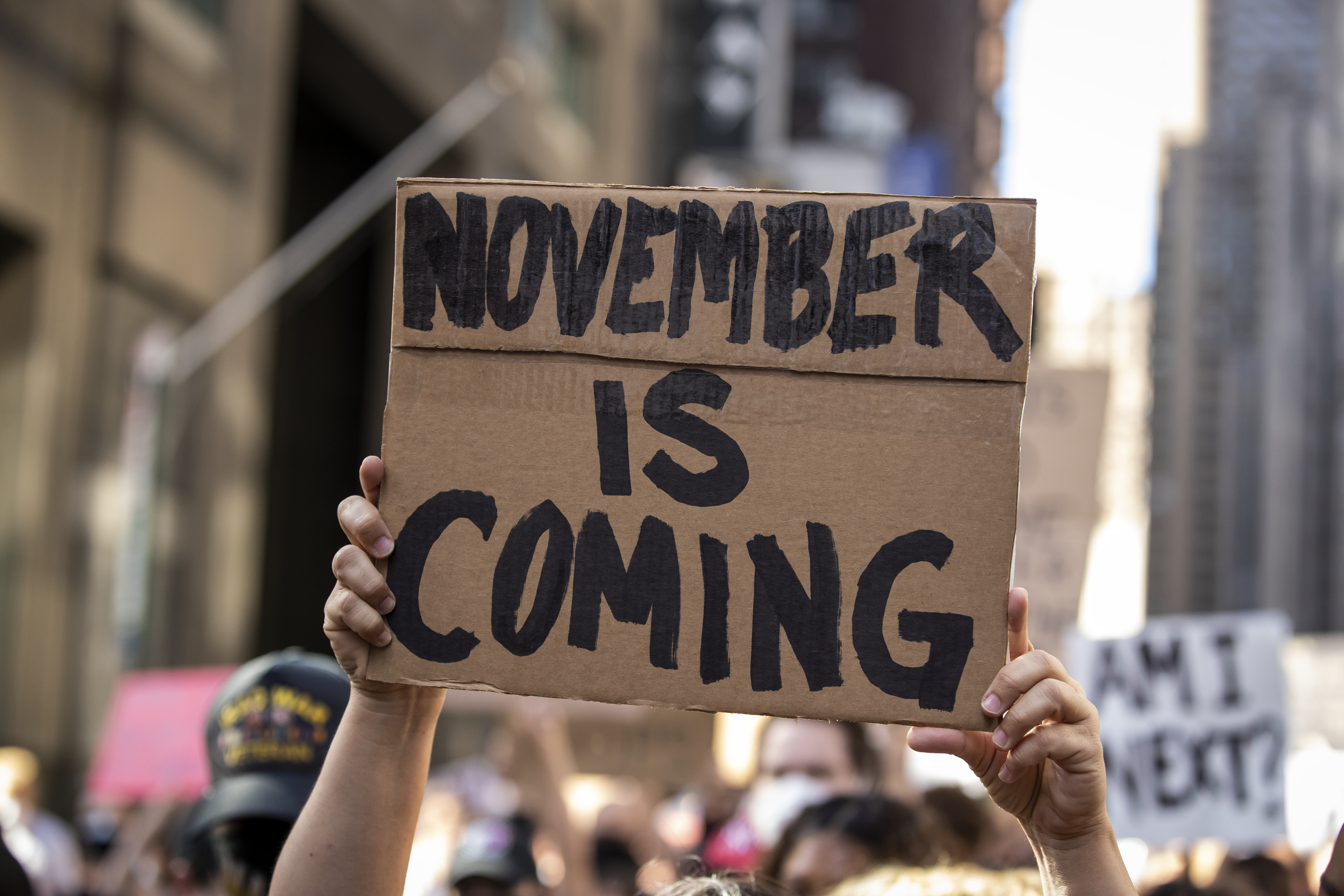 """A sign made from a cardboard box is held above a crowd. Its message, written in black in all capital letters, reads: """"NOVEMBER IS COMING."""""""