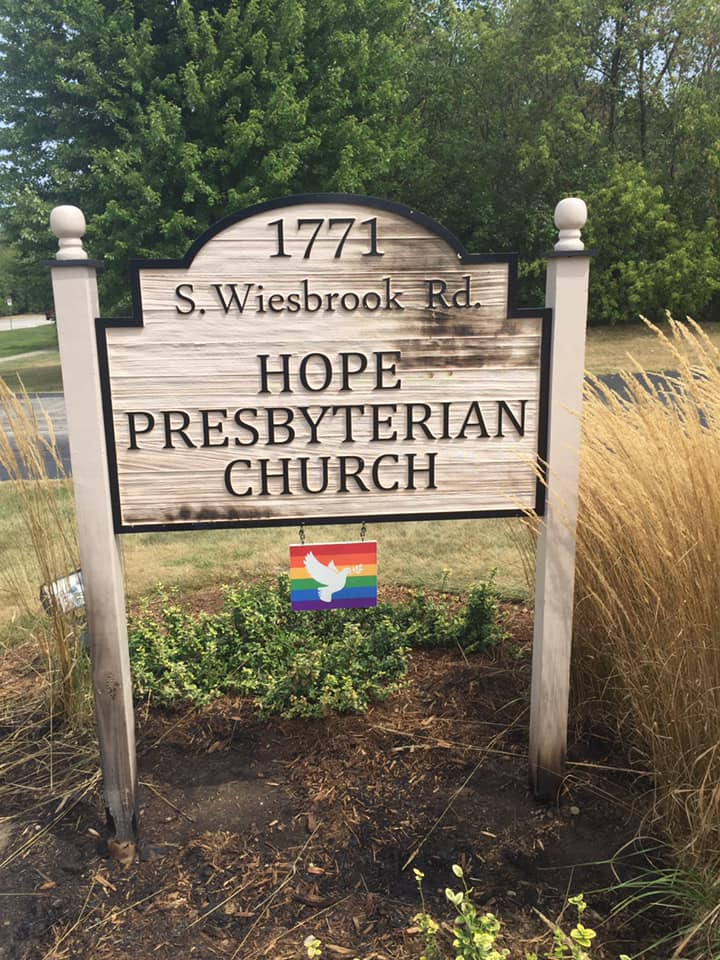 Authorities are investigating vandalism reported Aug. 31, 2020, to multiple signs outside Hope Presbyterian Church, 1771 S. Wiesbrook Road in Wheaton.