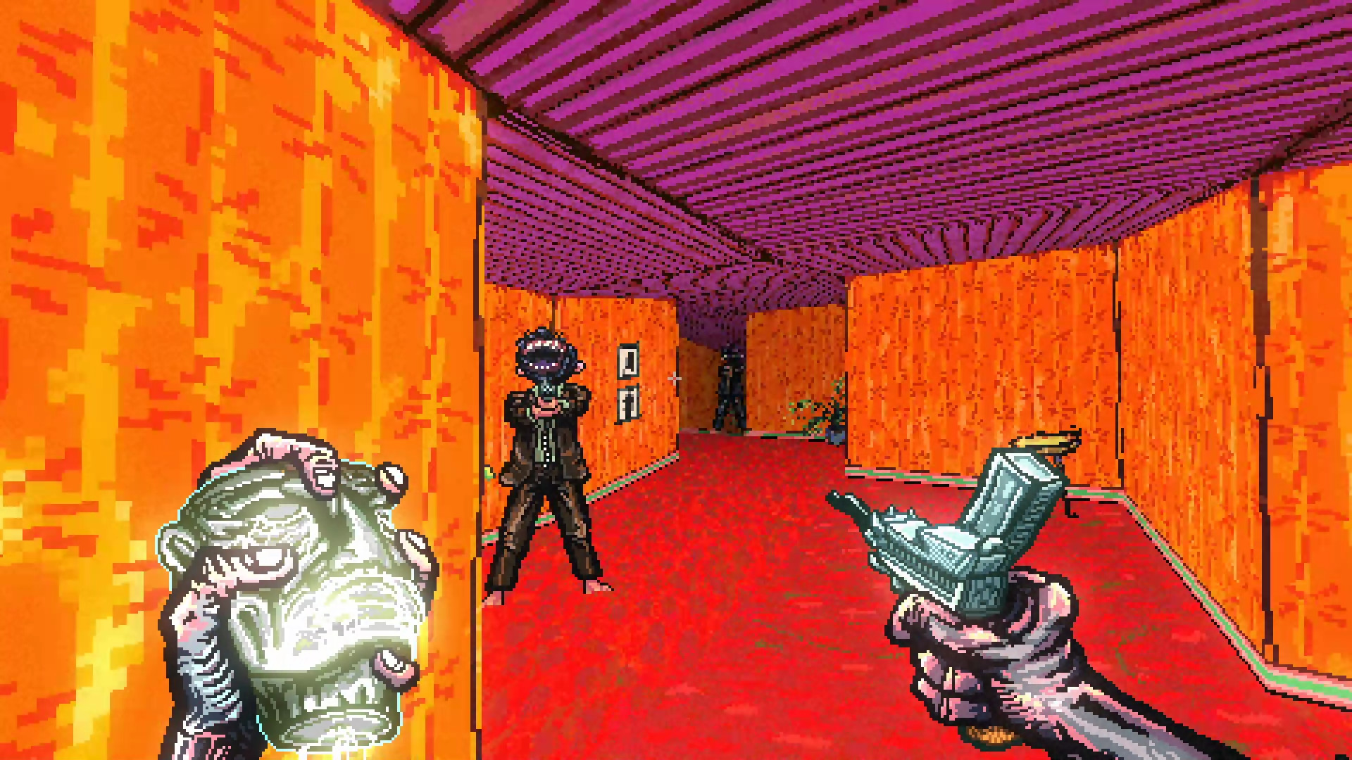 the player aims at an enemy in Post Void