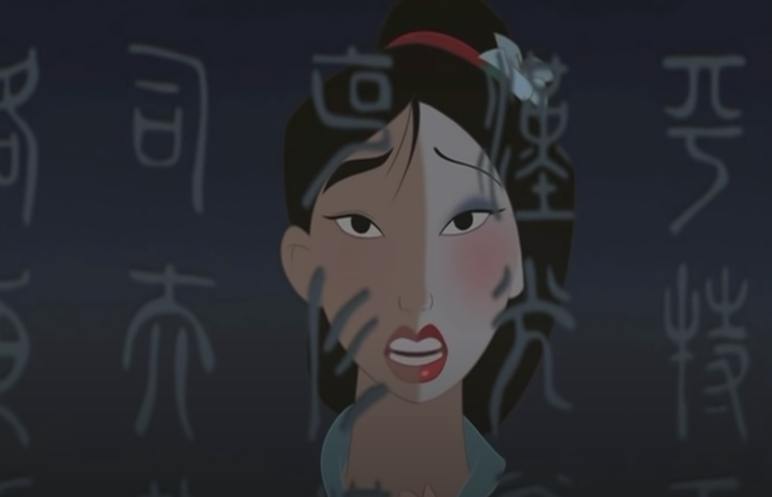 The animated character Mulan wearing makeup on half her face and with Chinese characters superimposed in front of her.