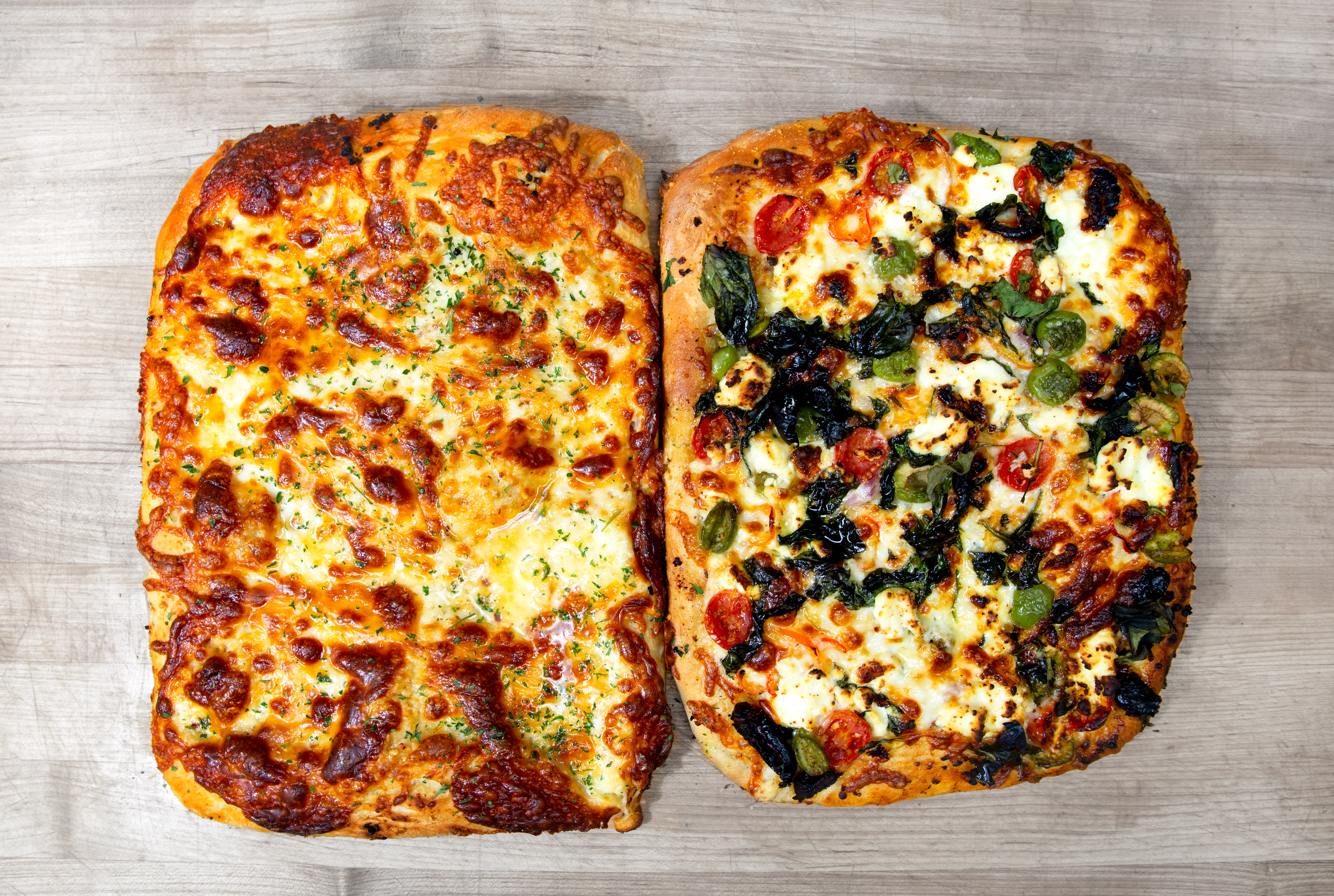 Two square pizzas