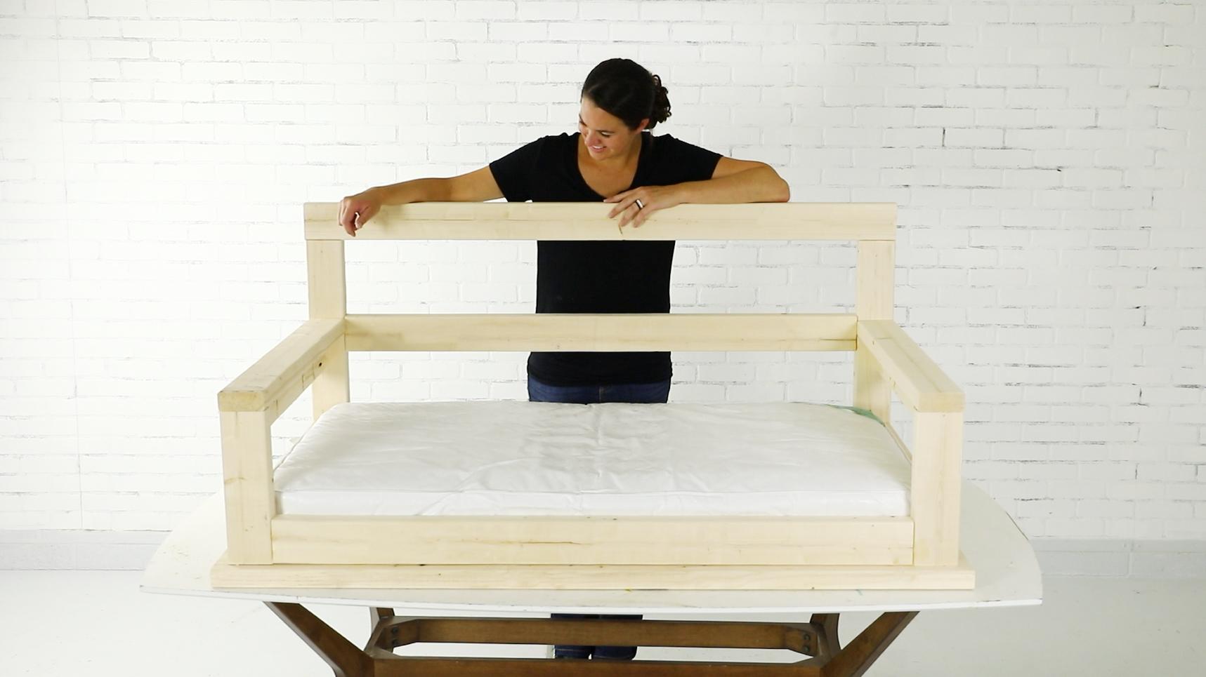 Jenn Largesse builds a porch swing bench