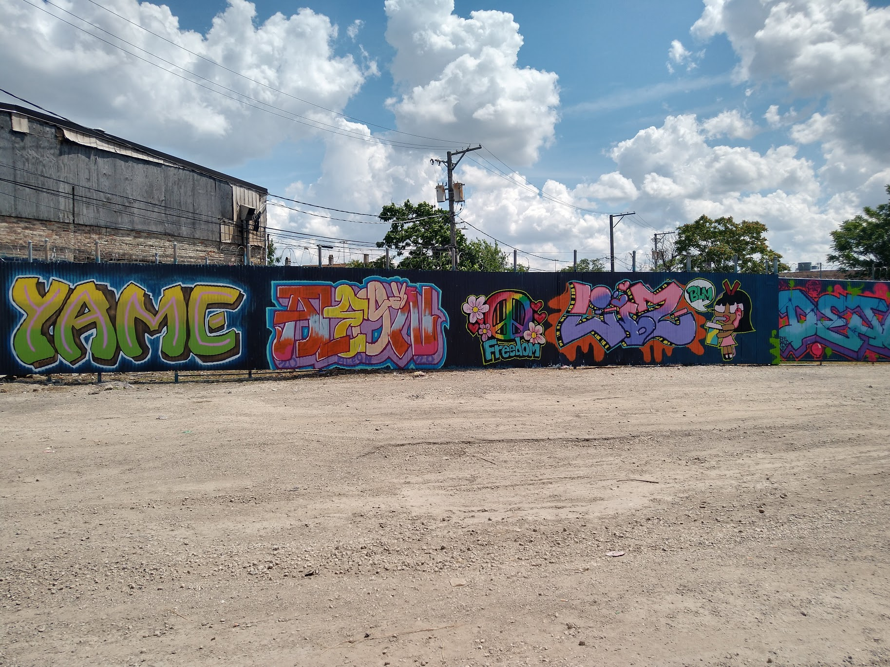 The corrugated iron wall that borders one side of the all-female graffiti artists' space that artists Bel and Phina have created, as seen from the entrance at 2725 S. Sacramento Ave. in the shadows of the Cook County Jail.
