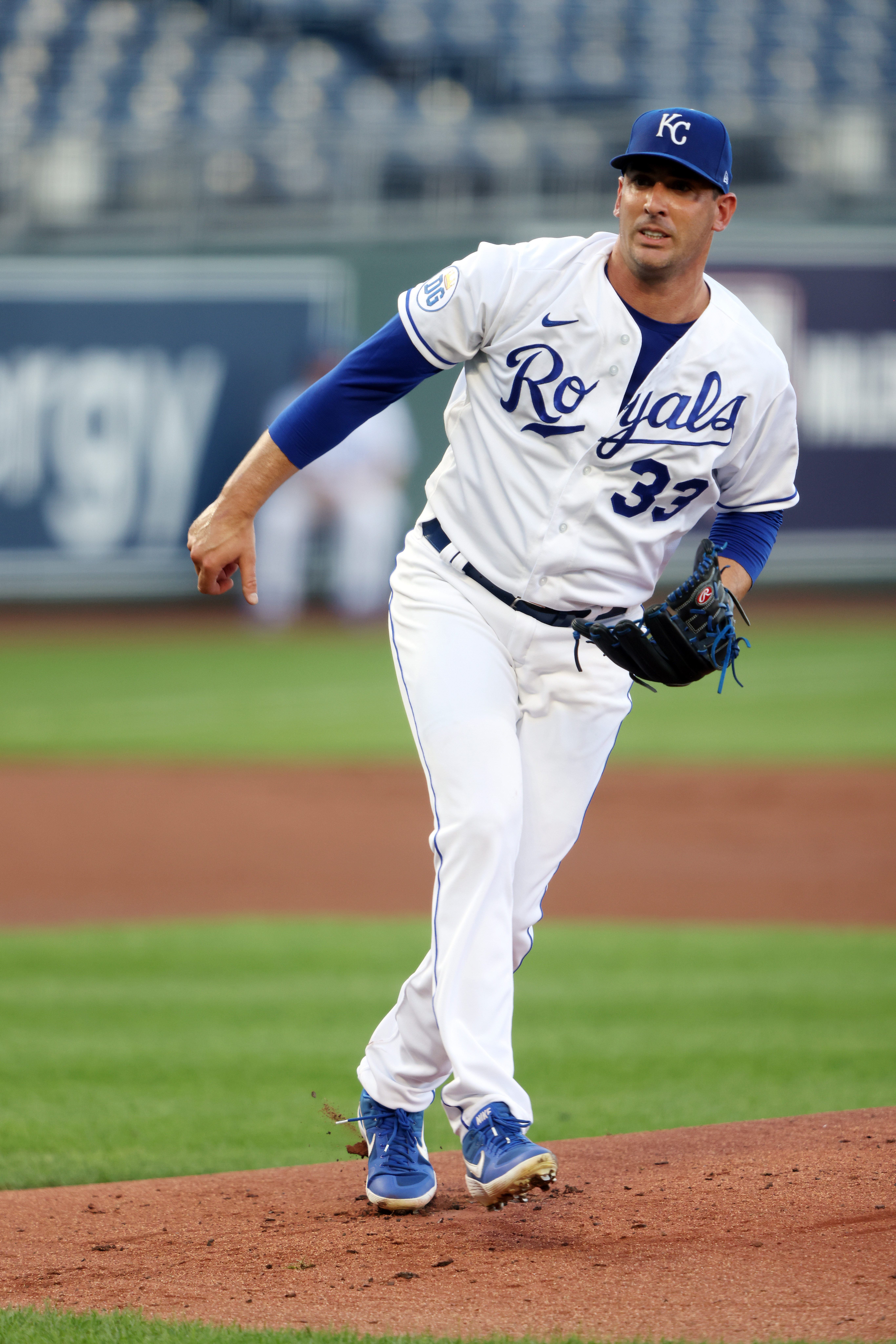 Starting pitcher Matt Harvey #33 of the Kansas City Royals pitches during the 1st inning of game two of a doubleheader against the Cincinnati Reds at Kauffman Stadium on August 19, 2020 in Kansas City, Missouri.