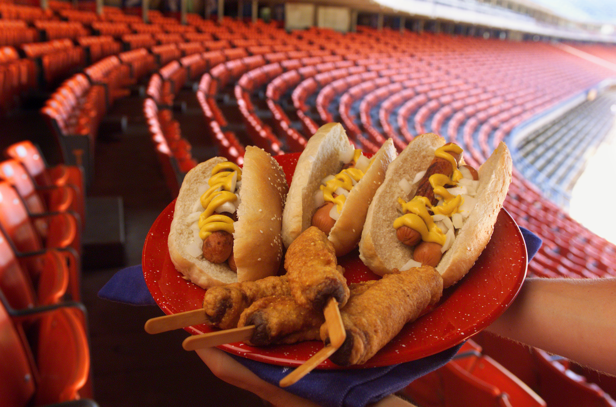 Dodger Stadium is the backdrop for baseball inspired food. A plate full of Homemade Hot Dog Buns wit