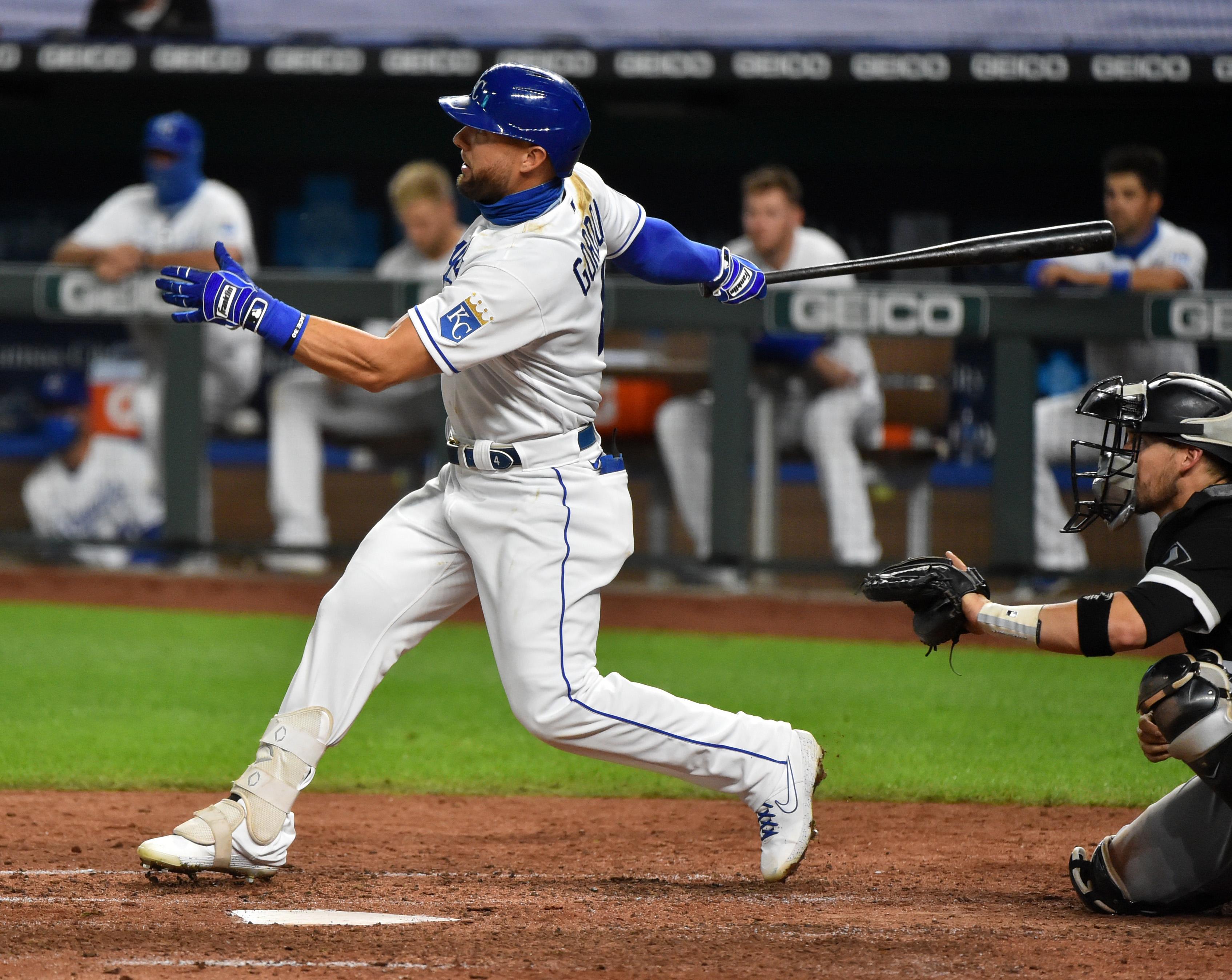 Alex Gordon following through on a swing