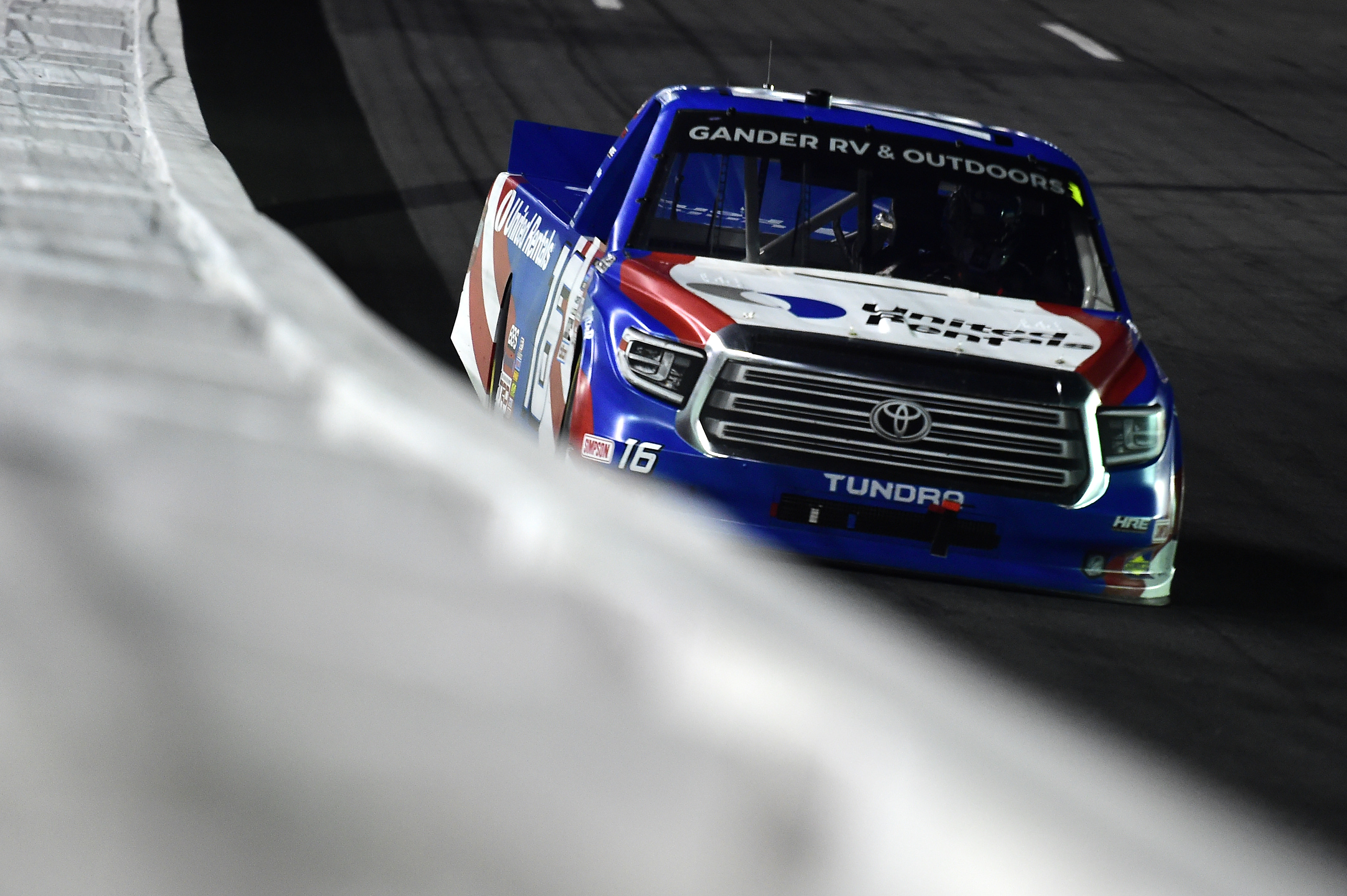 Austin Hill, driver of the #16 United Rentals Toyota, drives during the NASCAR Gander Outdoors Trucks Series North Carolina Education Lottery 200 at Charlotte Motor Speedway on May 26, 2020 in Concord, North Carolina.