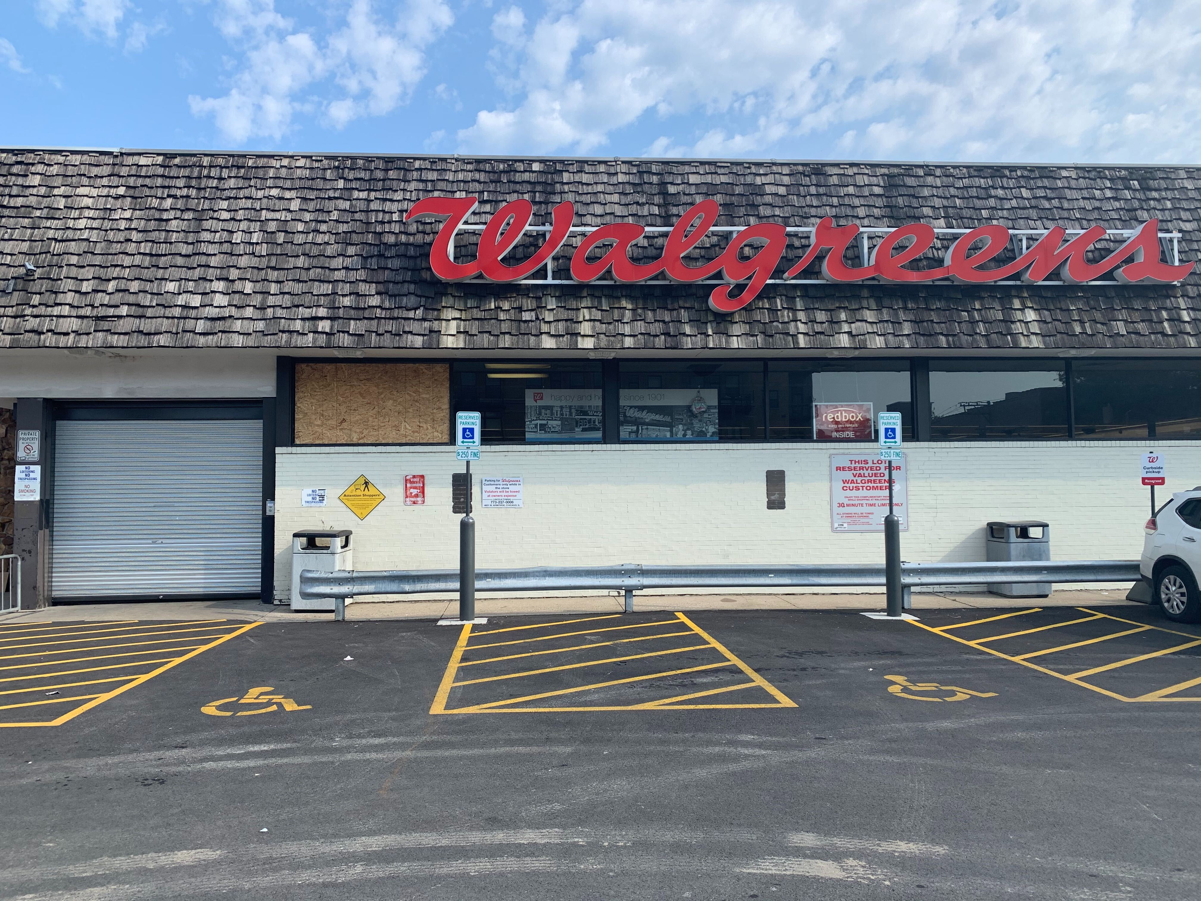 The front door of the Walgreens at 1372 N. Milwaukee Ave. is shuttered after an employee was stabbed to death there on Sept, 6, 2020.