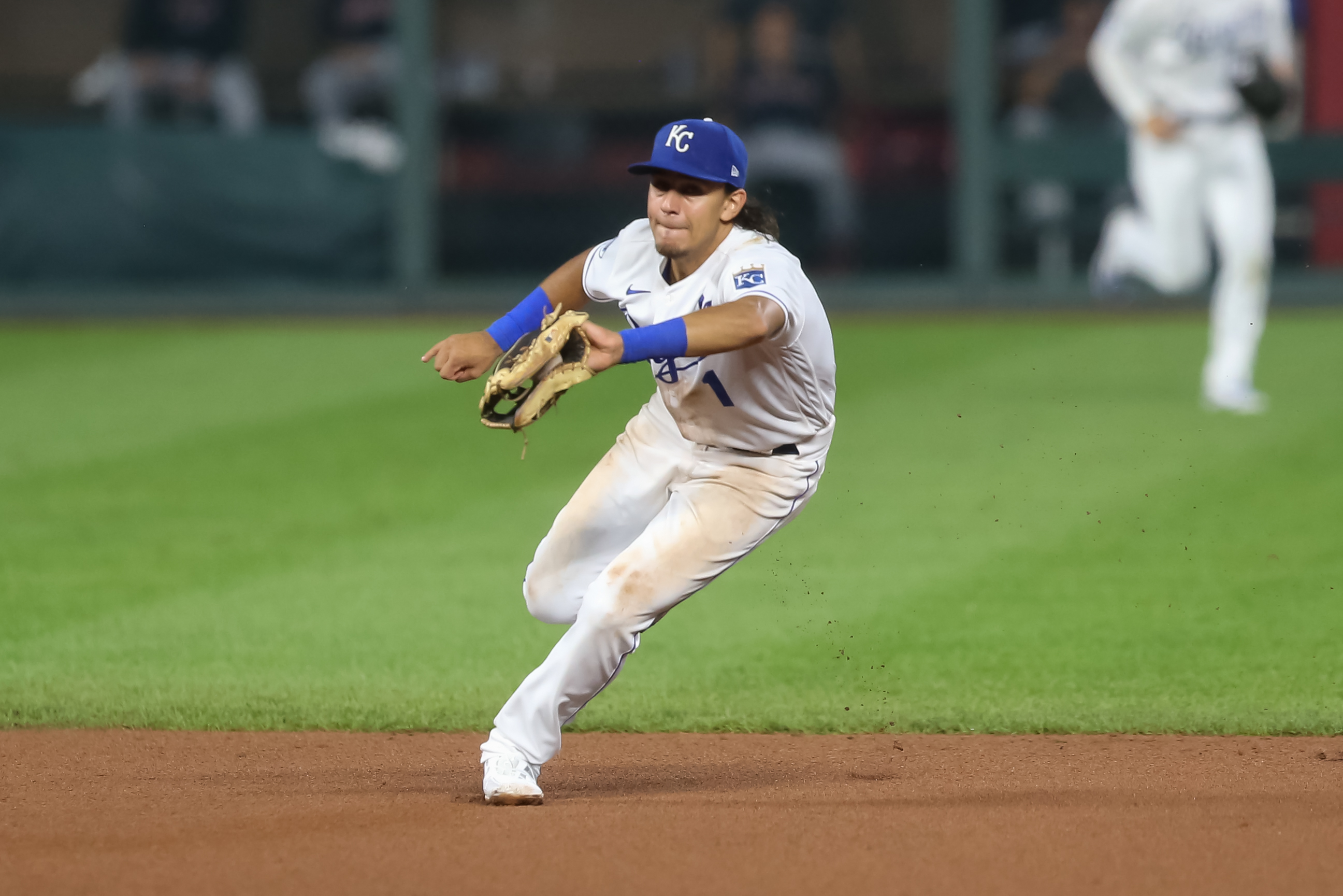 Kansas City Royals Nicky Lopez (1) comes up with a ground ball in the eighth inning of an MLB game between the Cleveland Indians and Kansas City Royals on September 1, 2020 at Kauffman Stadium in Kansas City, MO.