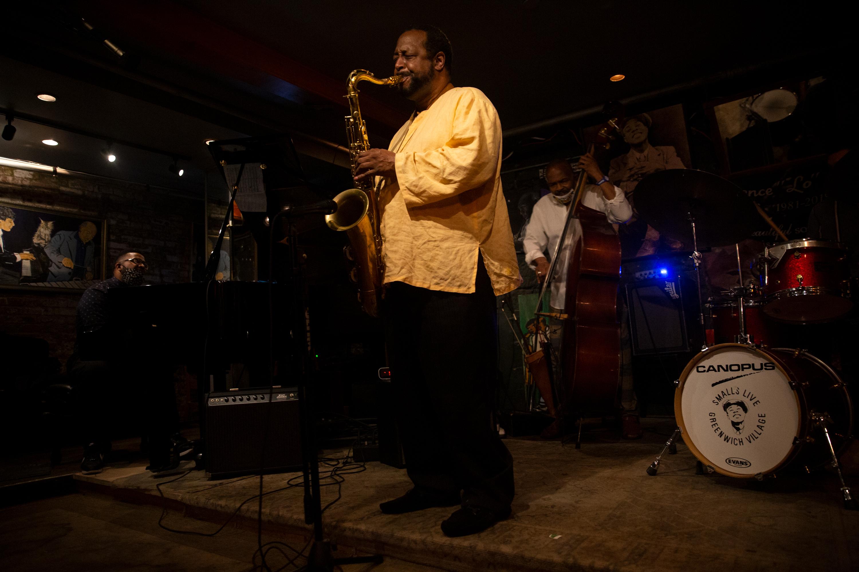 The Eric Wyatt Quartet plays a livestream show in an empty Smalls Jazz Club during the coronavirus outbreak, Aug. 14, 2020.