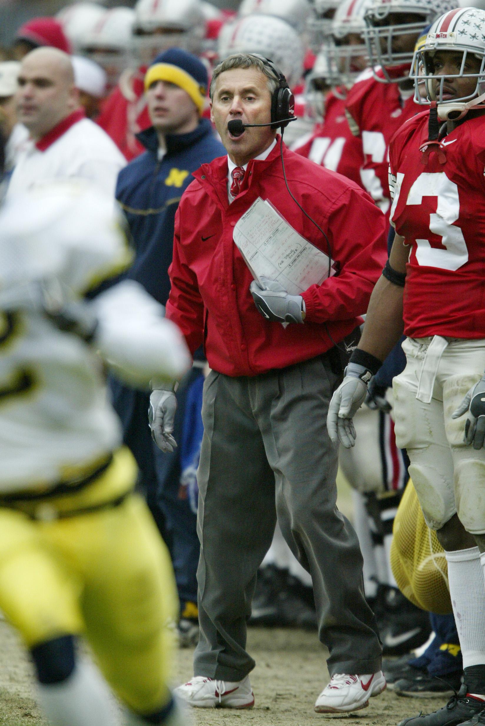Head Coach Jim Tressel of Ohio State...