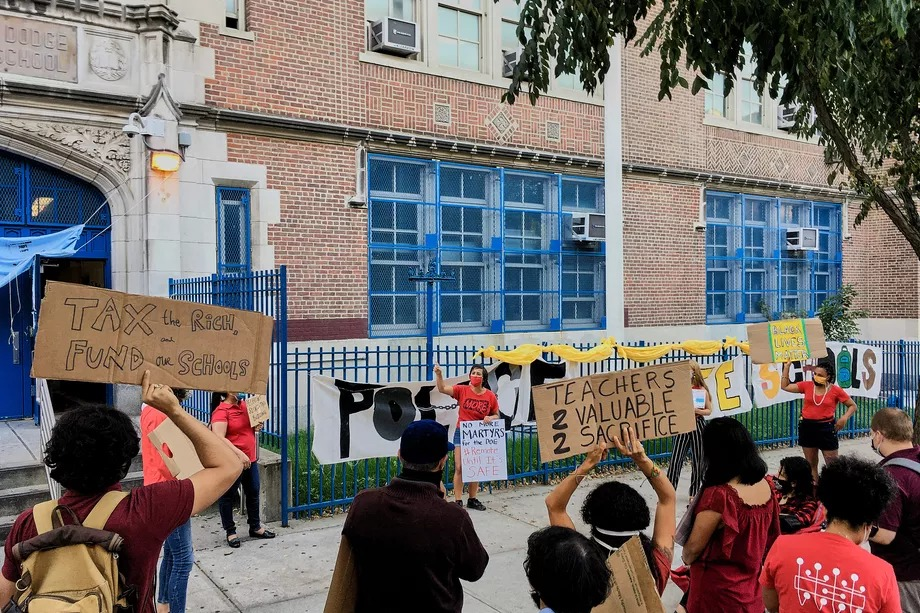 Teachers at Grace Dodge Educational Campus in the Bronx rallied on Tuesday to call attention to safety concerns about reopening school buildings.