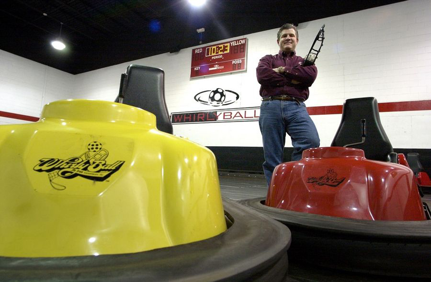 Sam Elias, founder and CEO of WhirlyBall's Chicago-area locations, seen in 2005 at the Vernon Hills WhirlyBall.