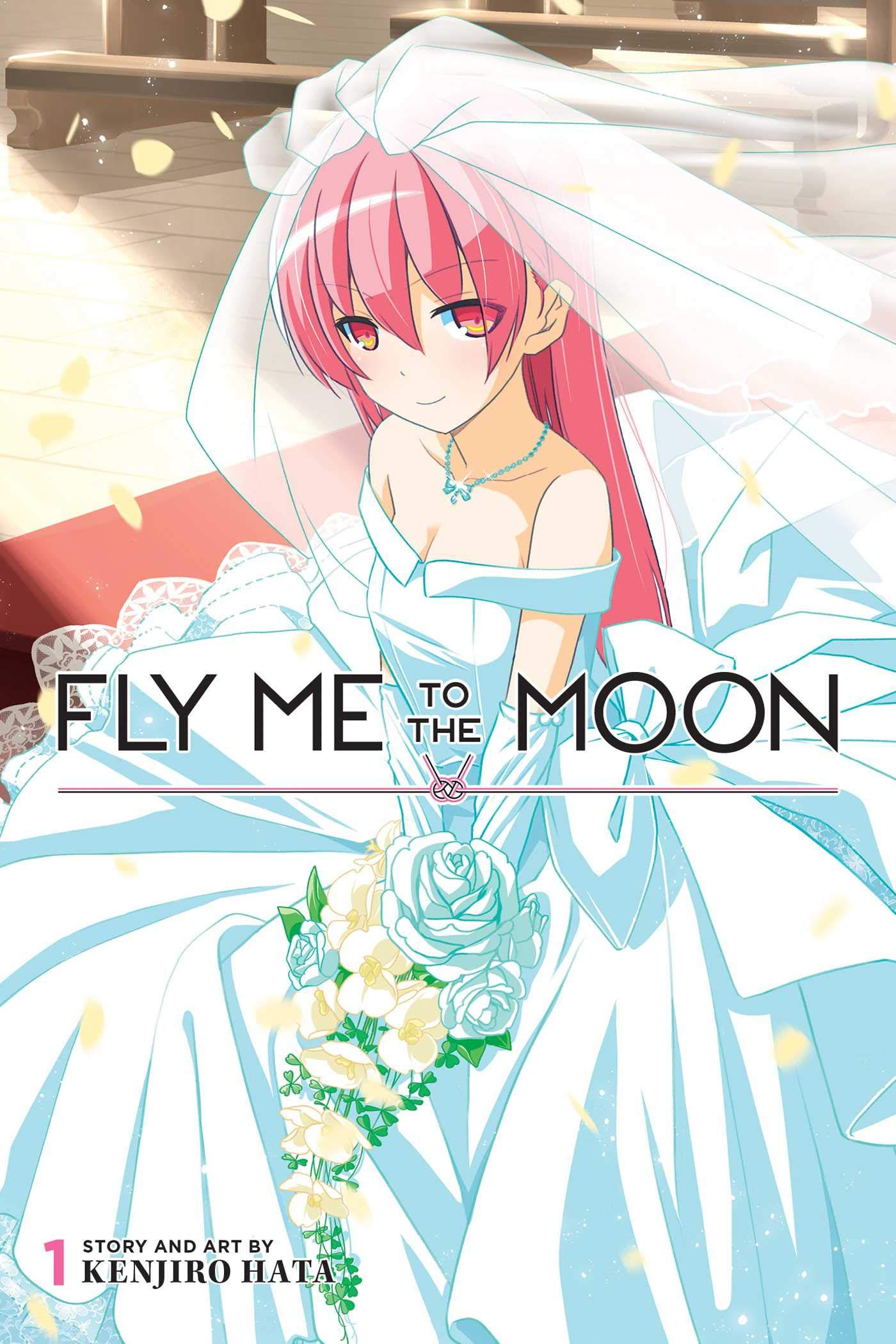 A pink-haired girl sits in a wedding veil and dress, on the cover of Fly Me to the Moon, Viz Media.