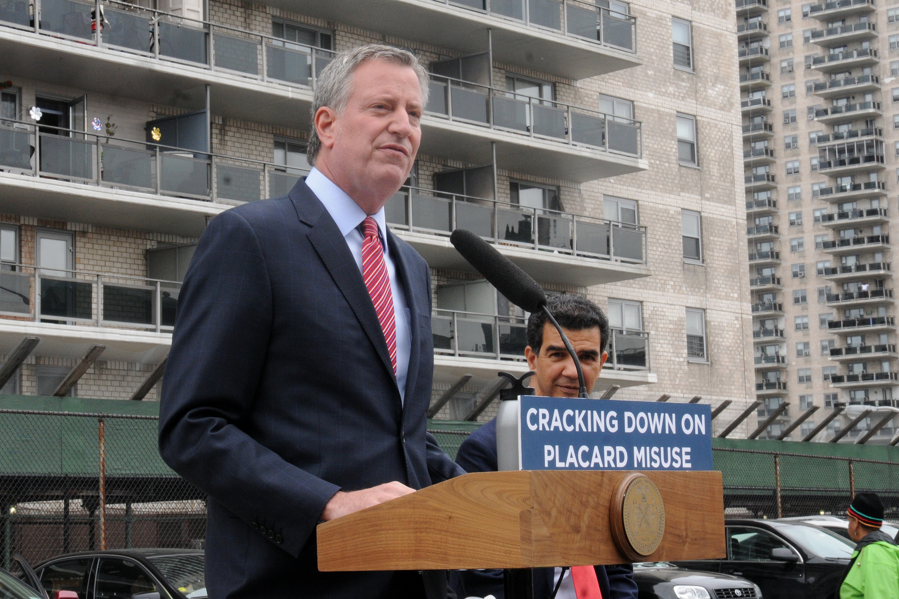 Mayor Bill de Blasio announces a plan in 2017 to crack down on placard abuse.