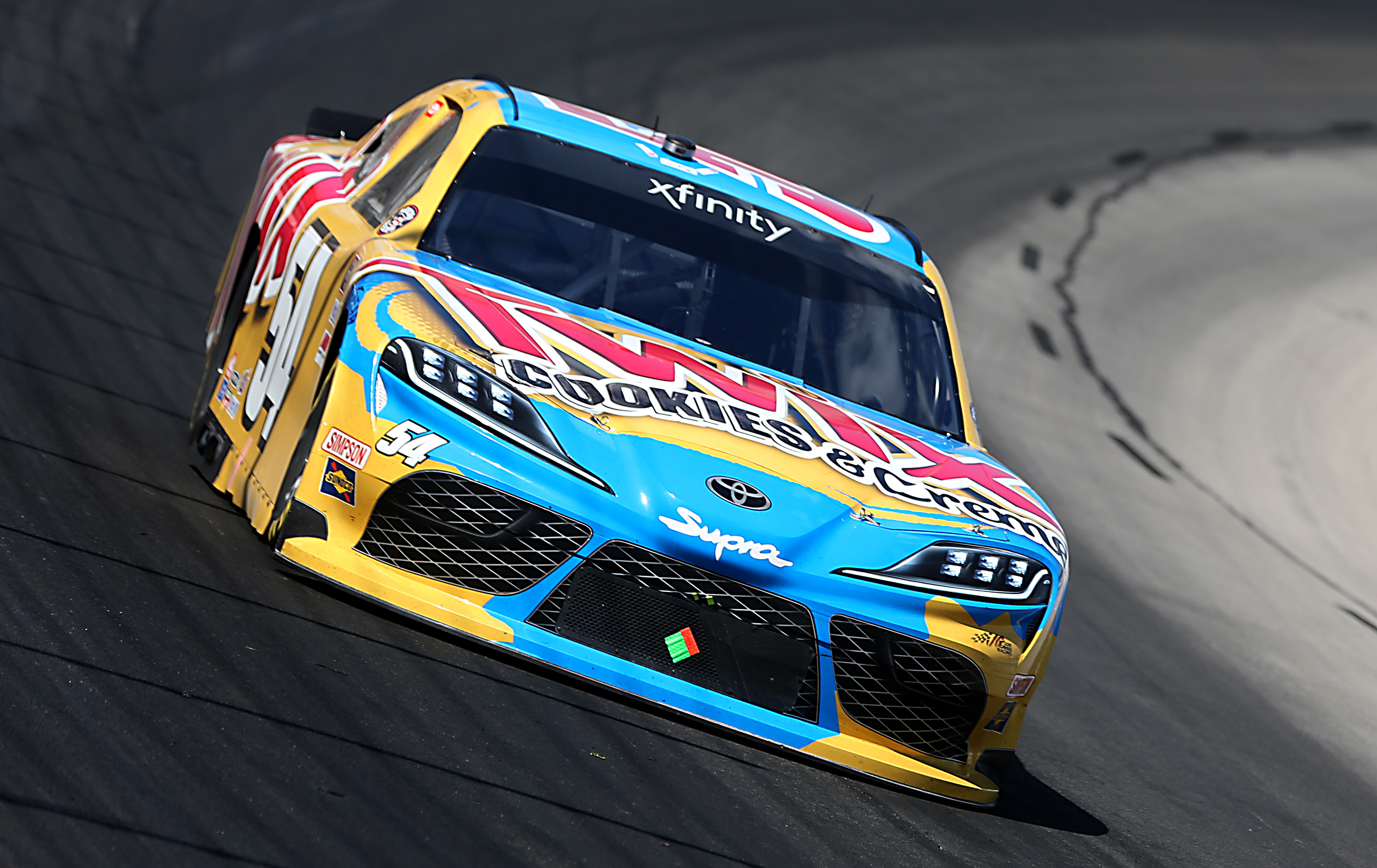 Kyle Busch, driver of the #54 Twix Cookies & Crème Toyota, drives during the NASCAR Xfinity Series Bariatric Solutions 300 at Texas Motor Speedway on July 18, 2020 in Fort Worth, Texas.