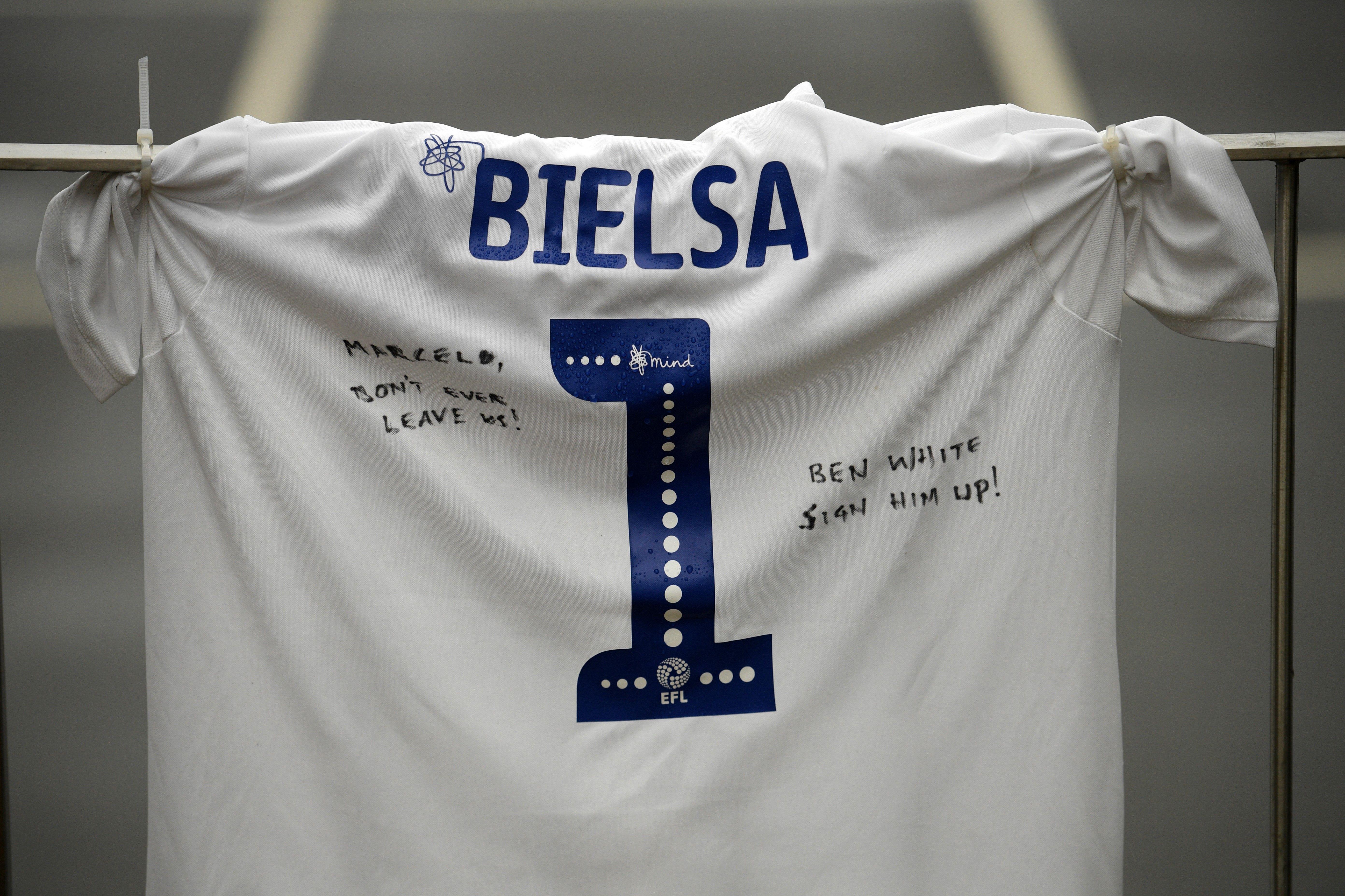 Leeds United football shirt, with the name of Argentinian head coach Marcelo Bielsa - Premier League