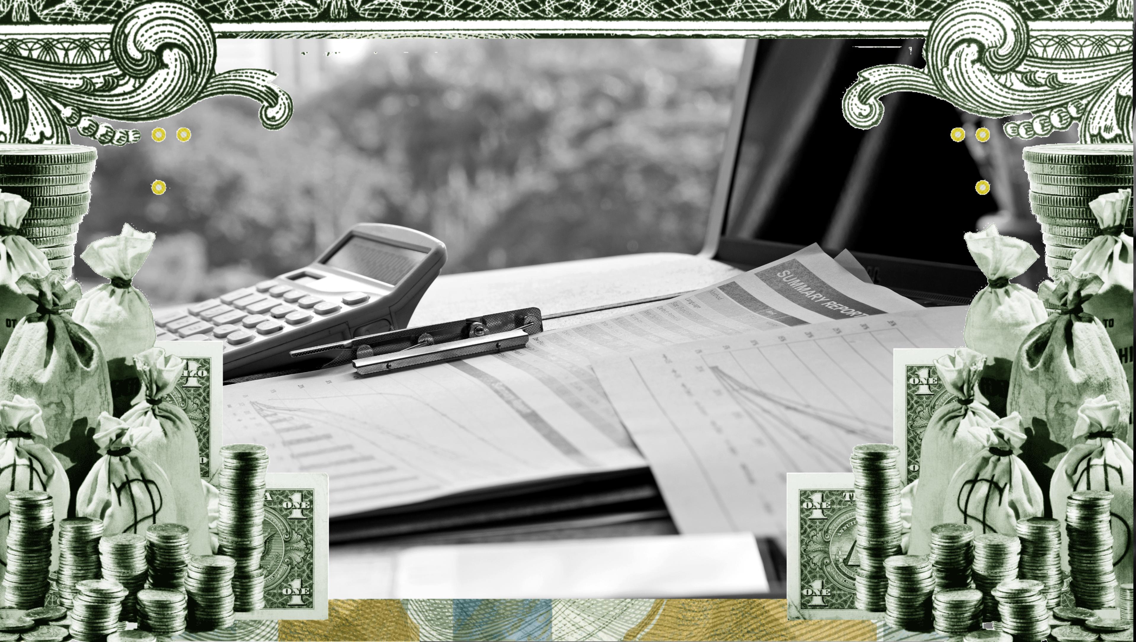A border of money around office supplies
