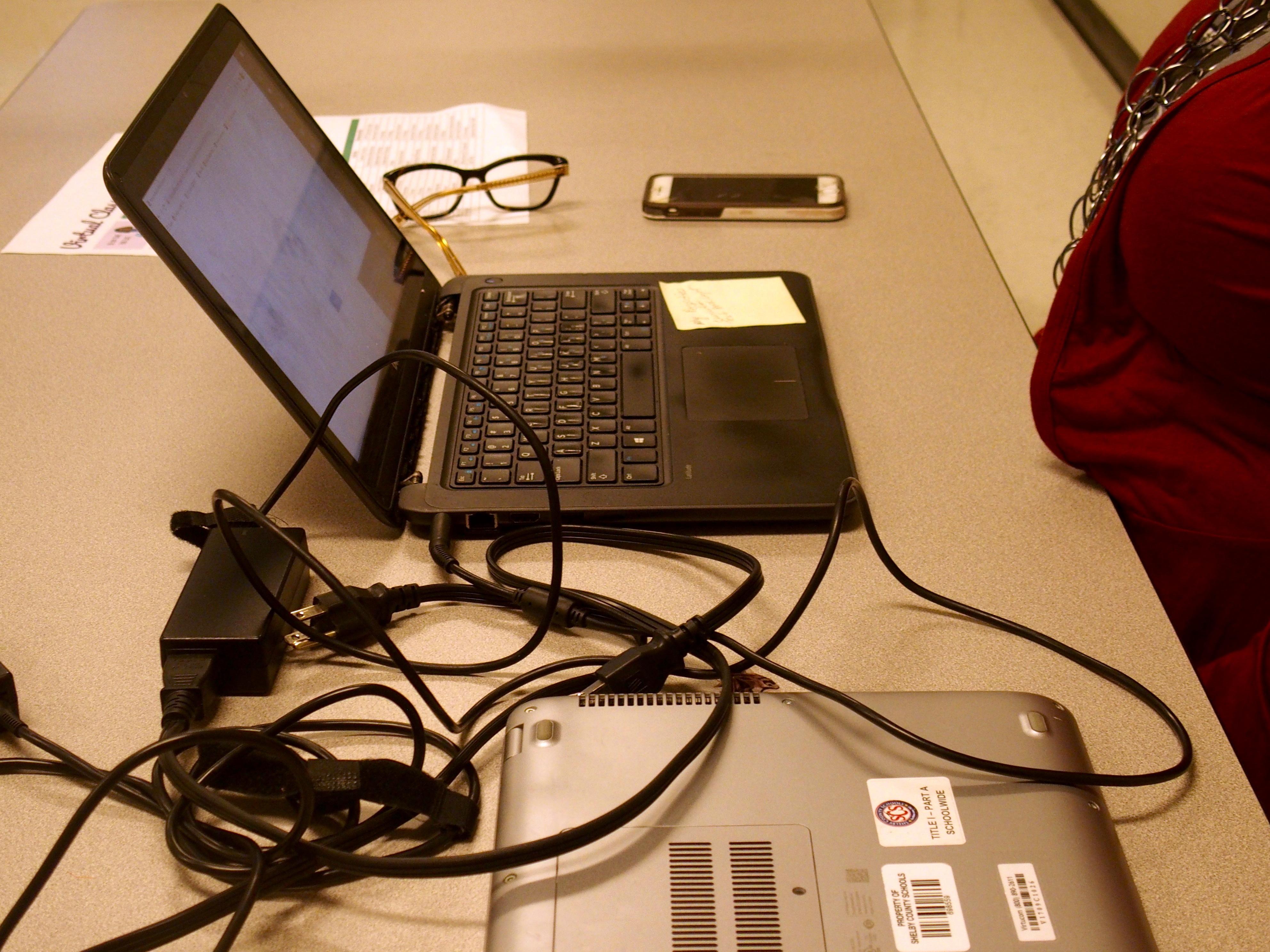 A teacher's computer on a desk