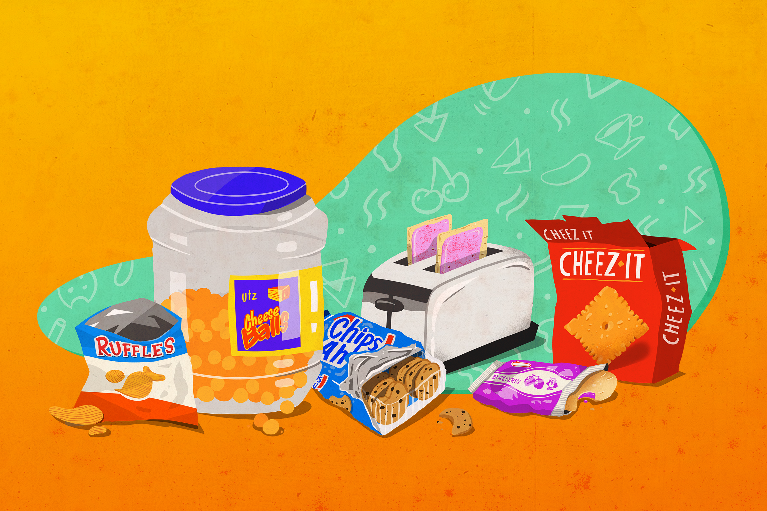 Illustration of Ruffles chip bag, big plastic container of cheese balls, Chips Ahoy cookies, a toaster oven with two Pop-Tarts popping out, and a box of Cheez-Its.