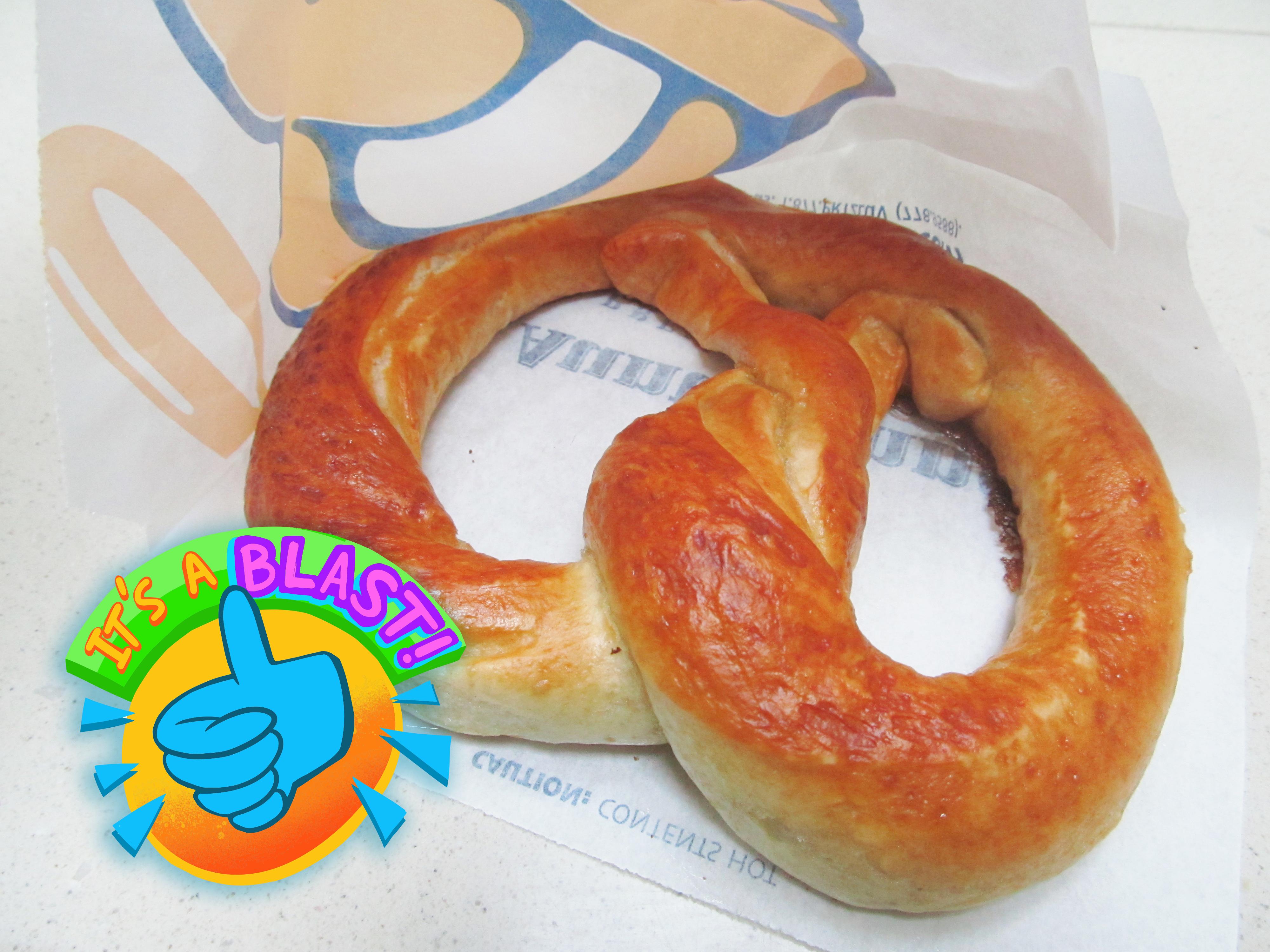 Unsalted pretzel on an Auntie Anne's logo bag.