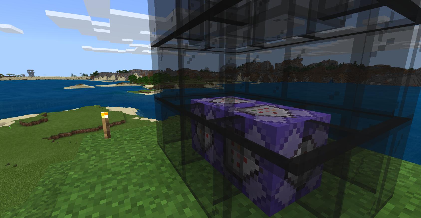 Some purple Command Blocks behind black glass panes
