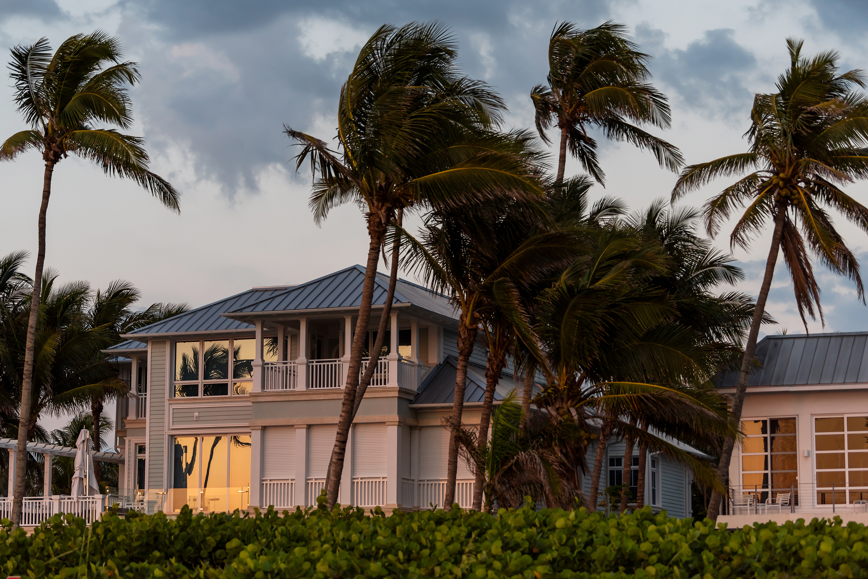 Vacation home in storm weather.